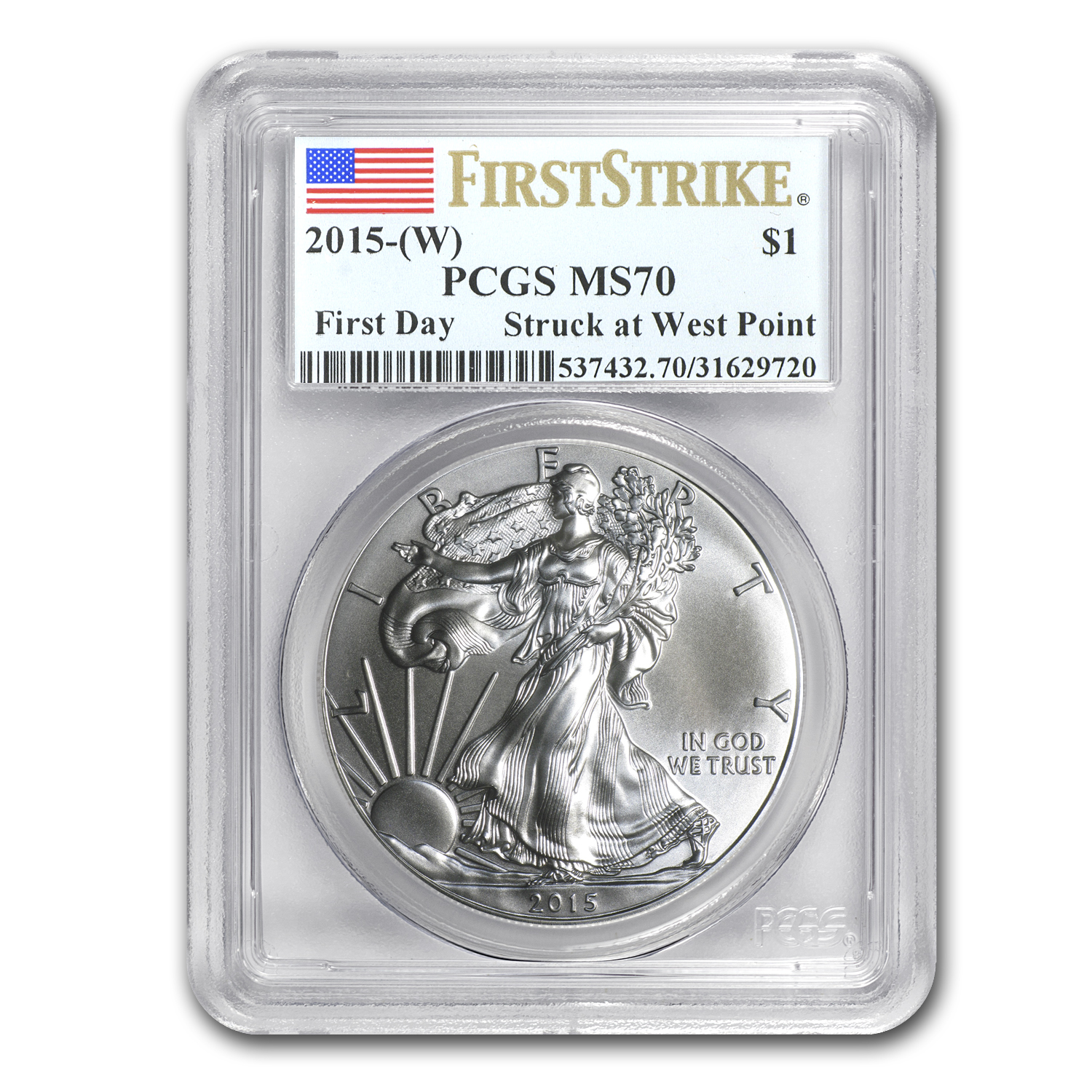 2015 (W) Silver American Eagle MS-70 PCGS (First Strike/Day)