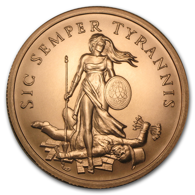 5 Oz Copper Round Sic Semper Tyrannis Golden State