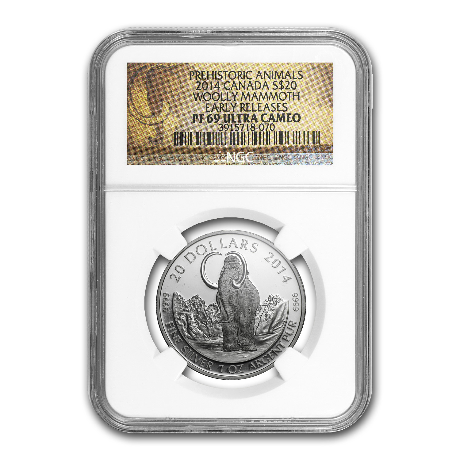 2014 Canada 1 oz Proof Silver $20 The Woolly Mammoth PF-69 NGC