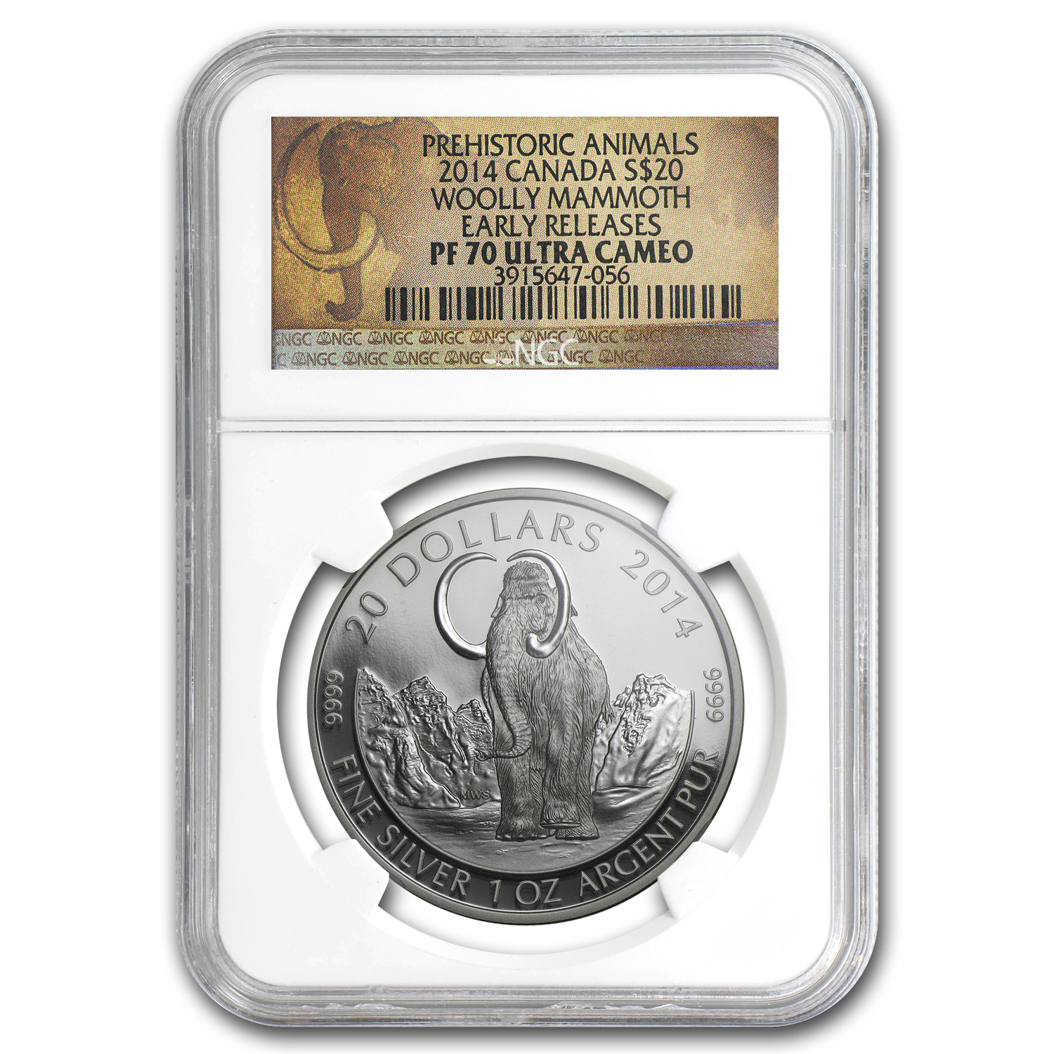 2014 Canada 1 oz Proof Silver $20 The Woolly Mammoth PF-70 NGC