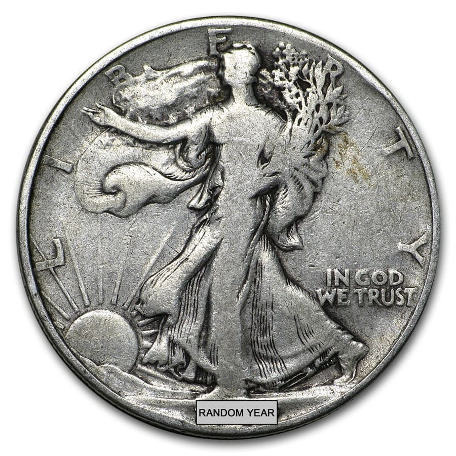 90% Silver Walking Liberty Half-Dollars $50 Face-Value Bag