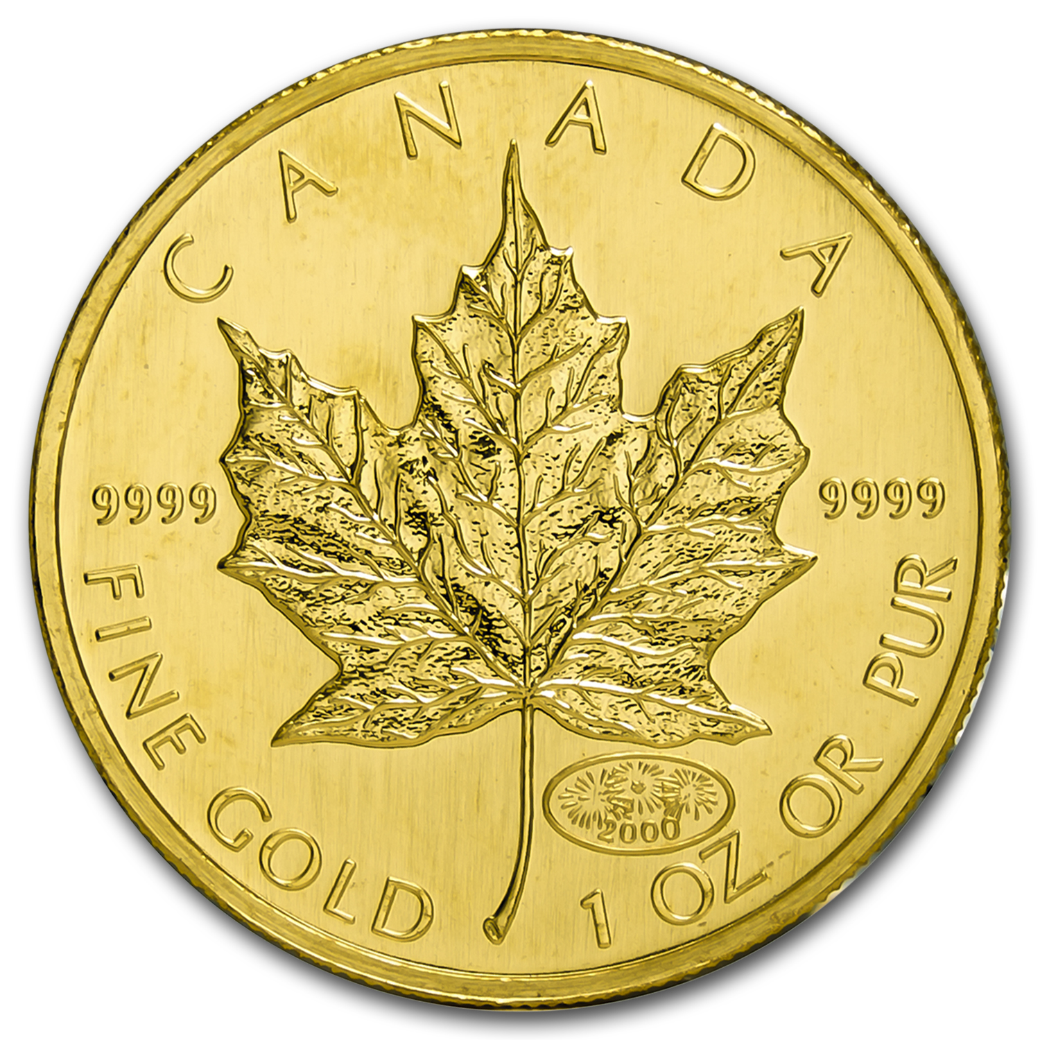2000 Canada 1 oz Gold Maple Leaf Fireworks Privy BU