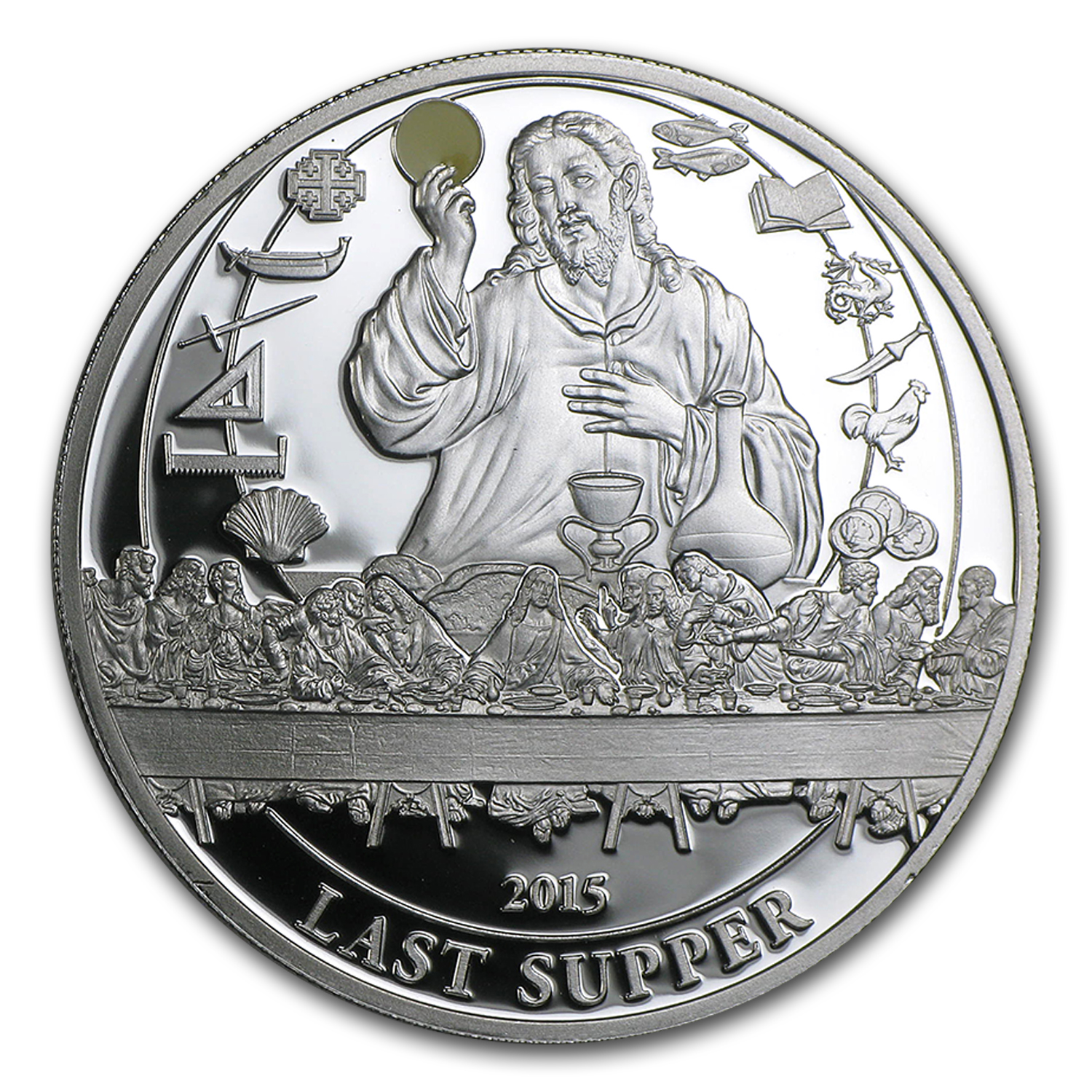 2015 Palau Proof Silver Biblical Stories Last Supper