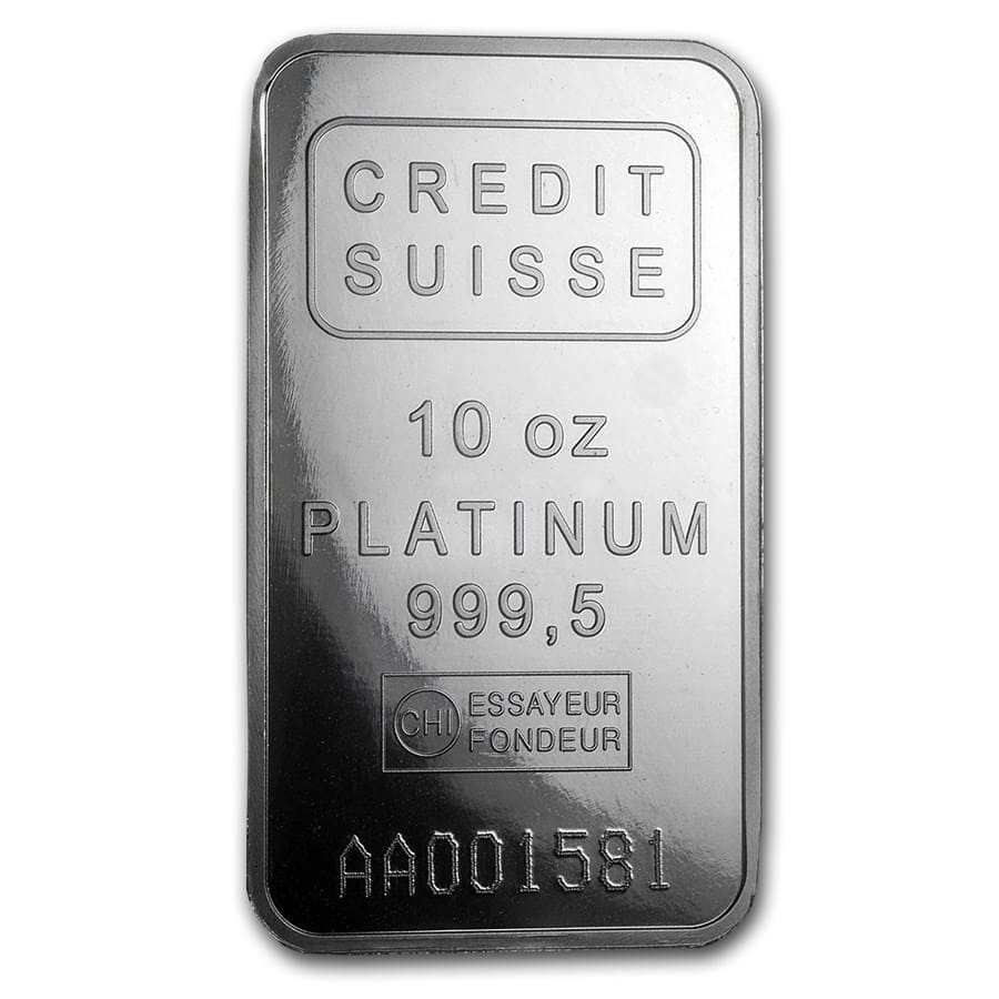 10 oz Platinum Bar - Credit Suisse (.9995 Fine, w/Assay)