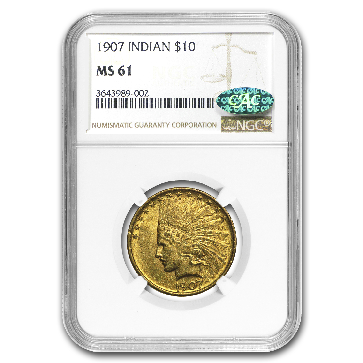 1907 $10 Indian Gold Eagle No Motto MS-61 NGC CAC