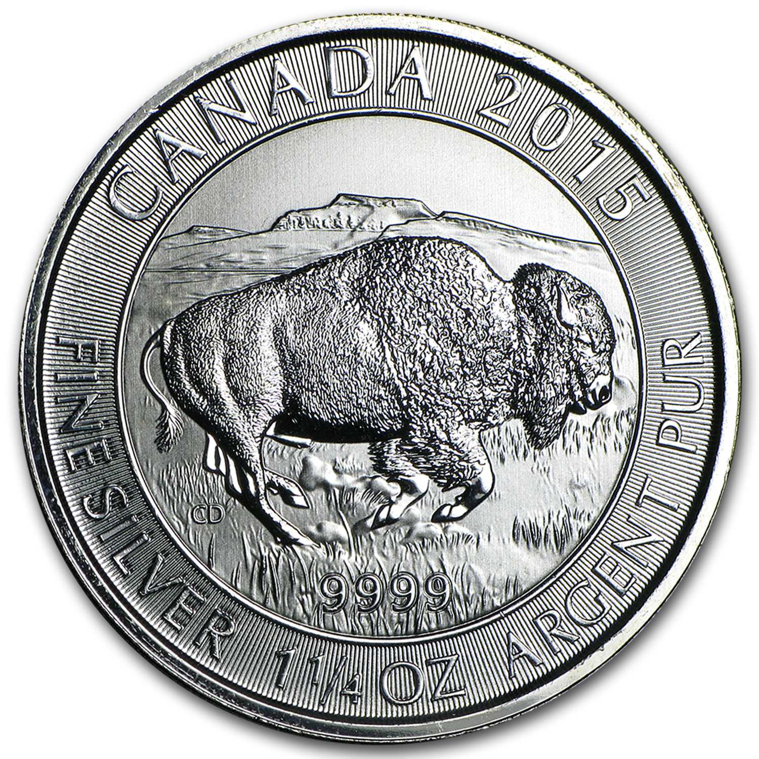 2015 Canada 1.25 oz Silver $8 Bison BU (Damaged)