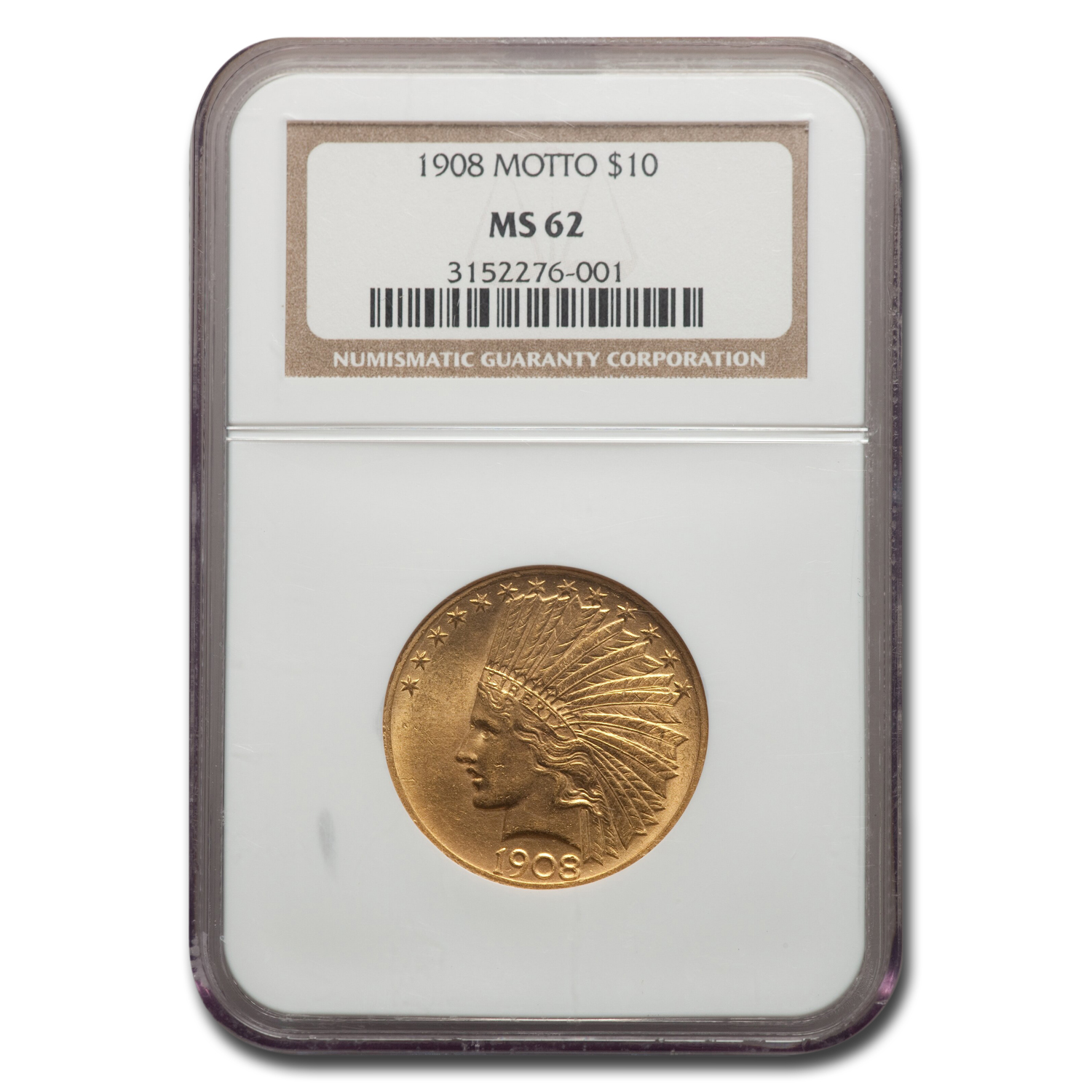 1908 $10 Indian Gold Eagle w/Motto MS-62 NGC