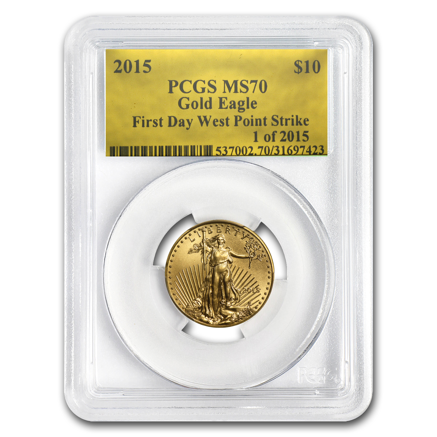 2015 4-Coin Gold American Eagle Set MS-70 PCGS (Gold Foil, FS)
