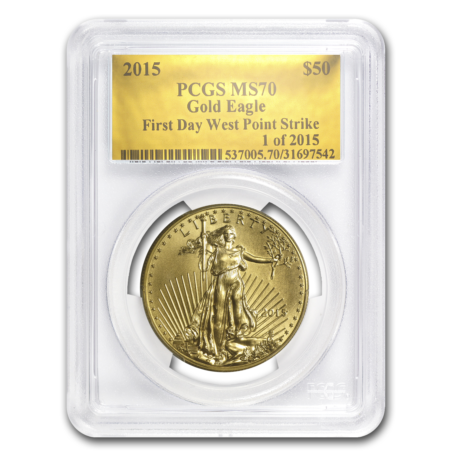 2015 1 oz Gold American Eagle MS-70 PCGS (FS, Gold Foil)