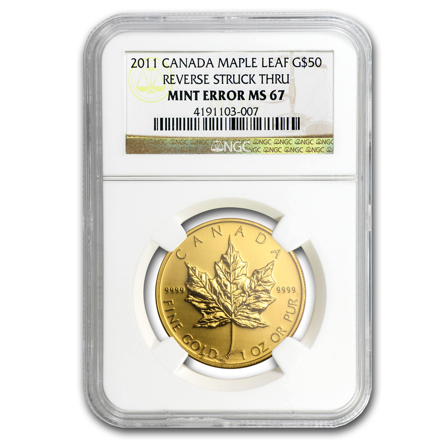 2011 Canada 1 oz Gold Maple Leaf MS-67 NGC (Mint Error)