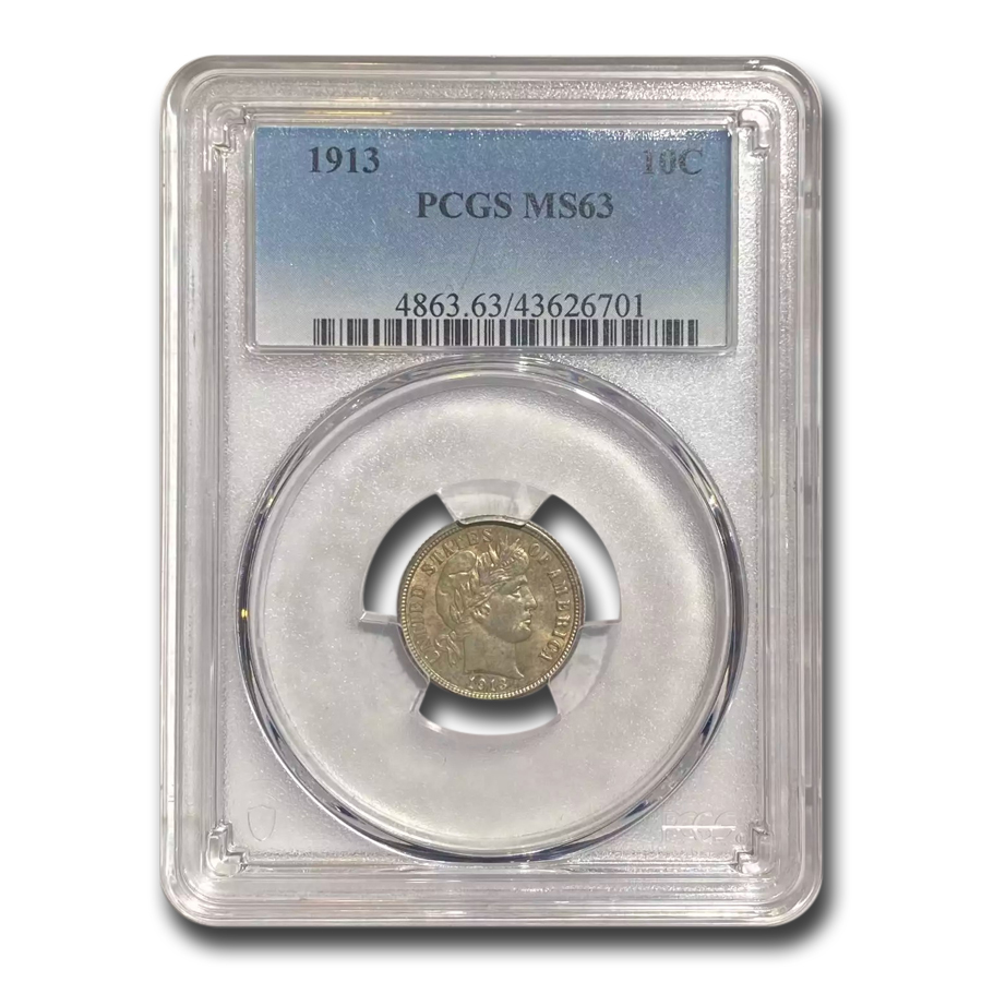 1913 Barber Dime MS-63 PCGS