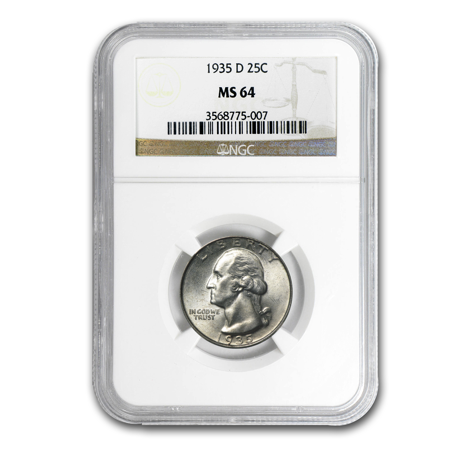 1935-D Washington Quarter MS-64 NGC