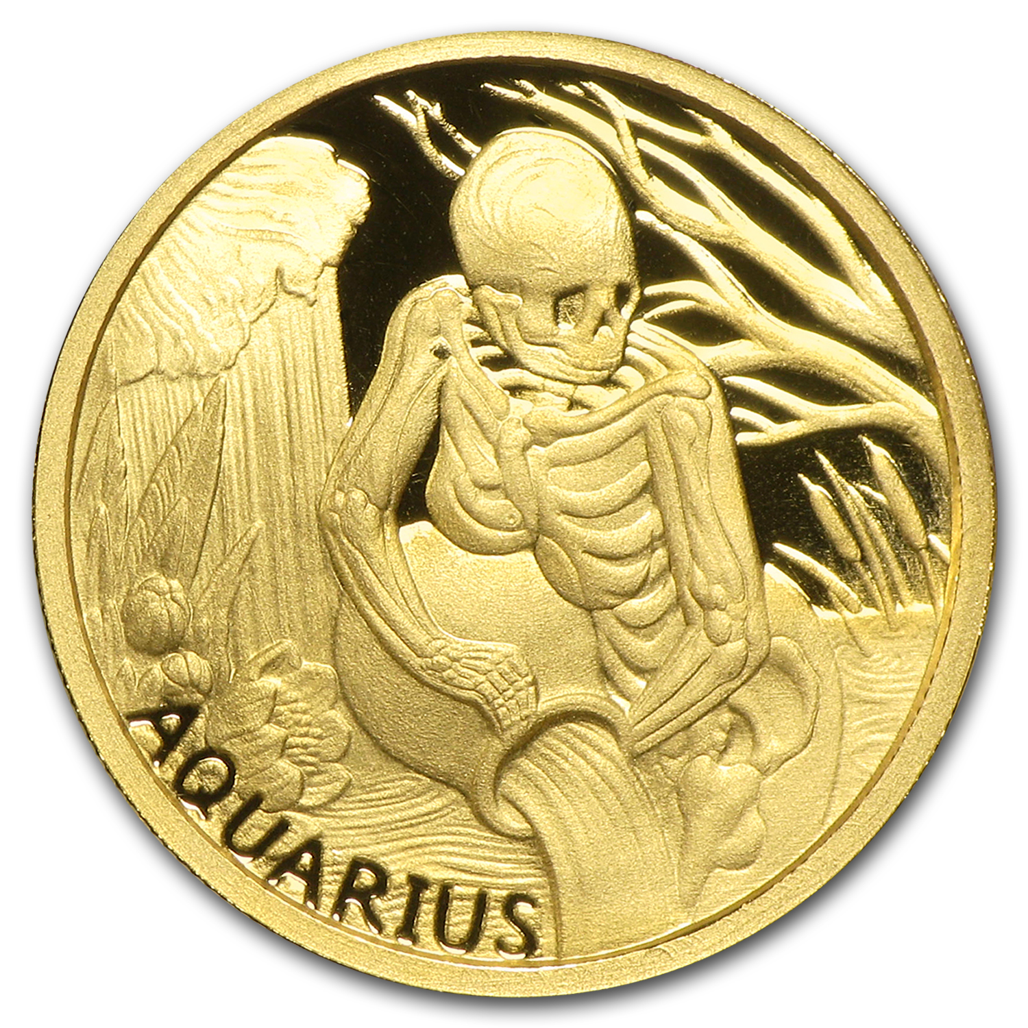 1/10 oz Gold Round Zodiac Series - Aquarius