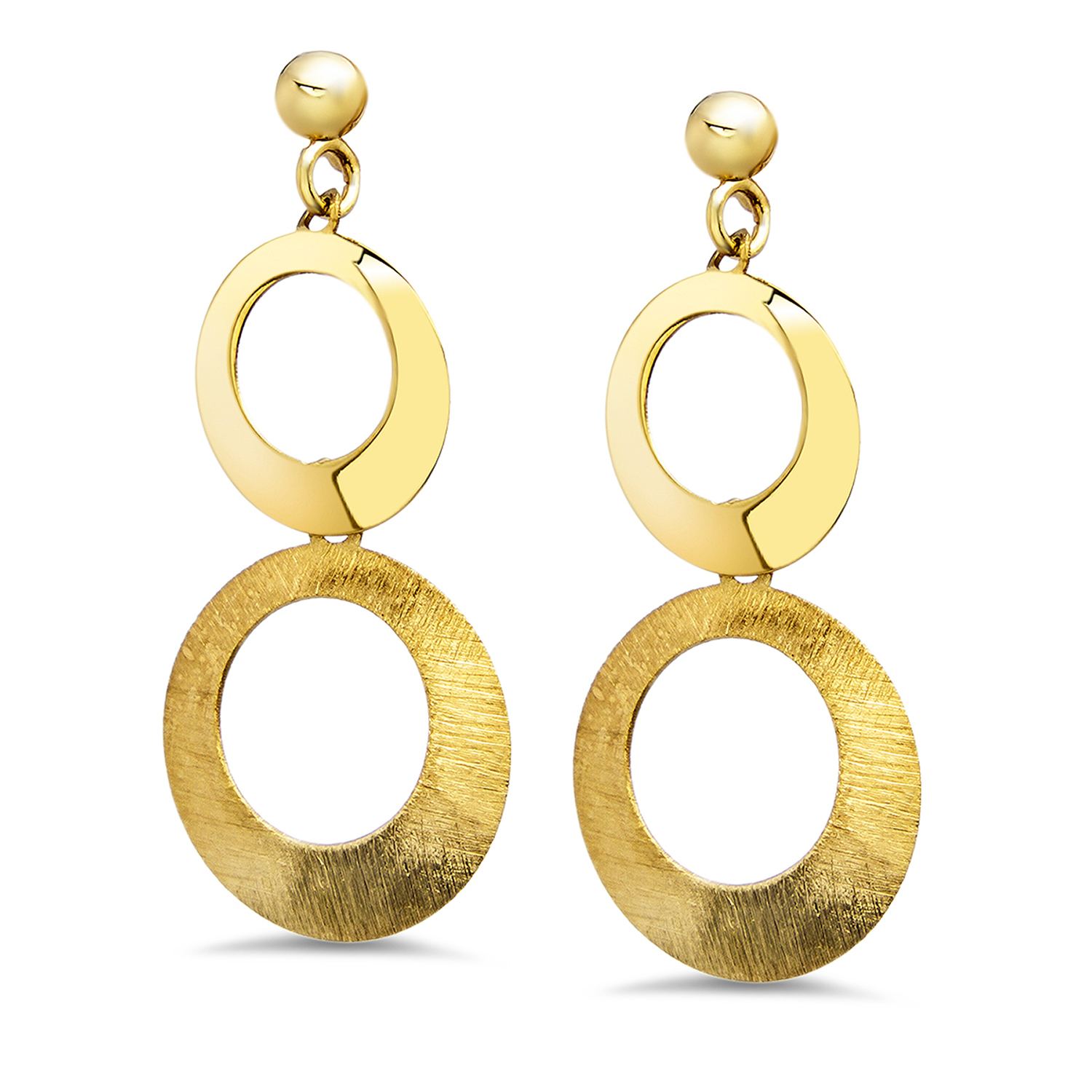 14k Gold Polished and Scratch Finish Cirlce Post Earrings