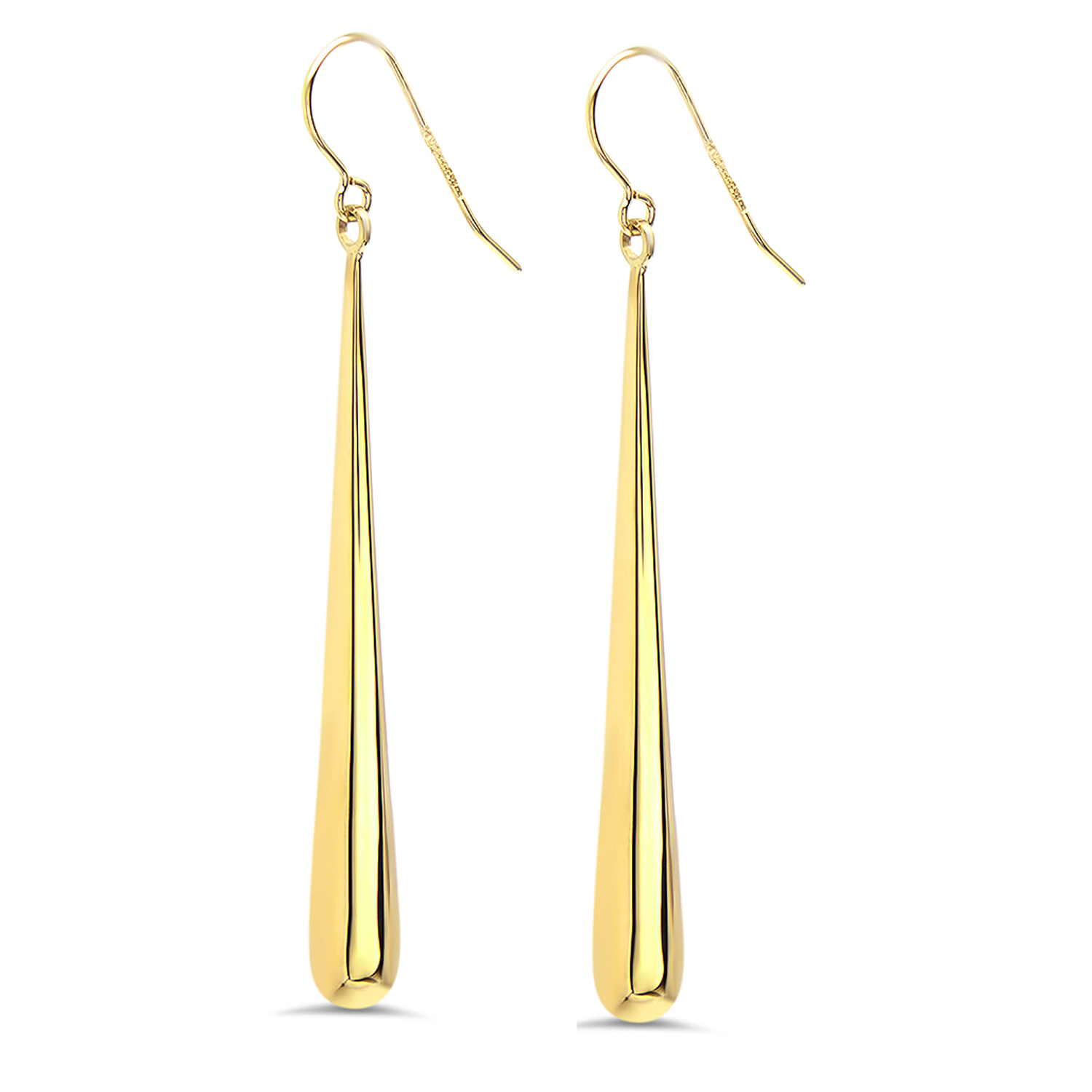 14k Gold Polished Shepherd Hook Drop Earrings