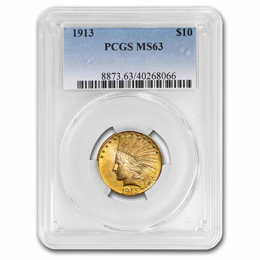 1913 $10 Indian Gold Eagle - MS-63 PCGS
