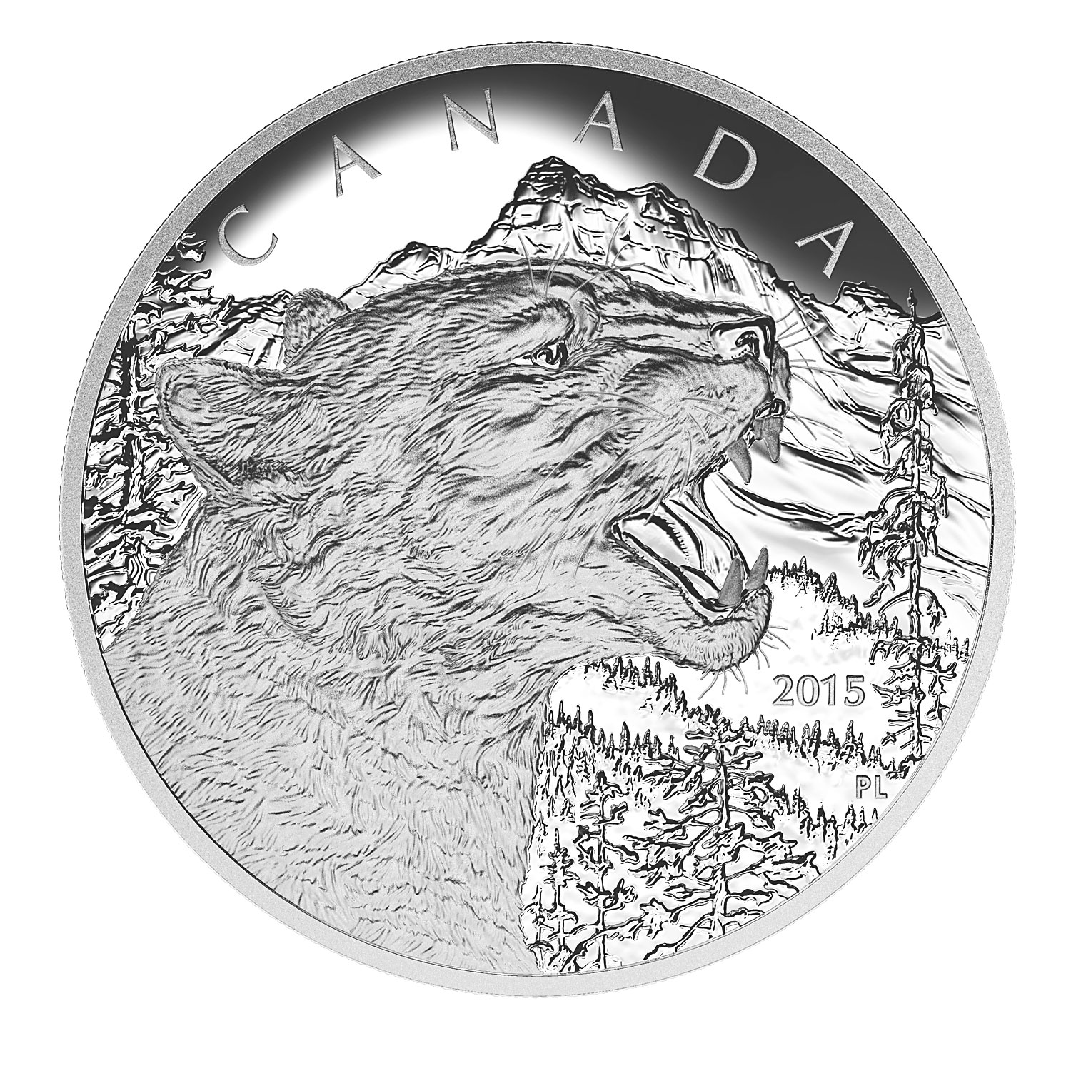 2015 Canada 1/2 kilo Proof Silver $125 Growling Cougar
