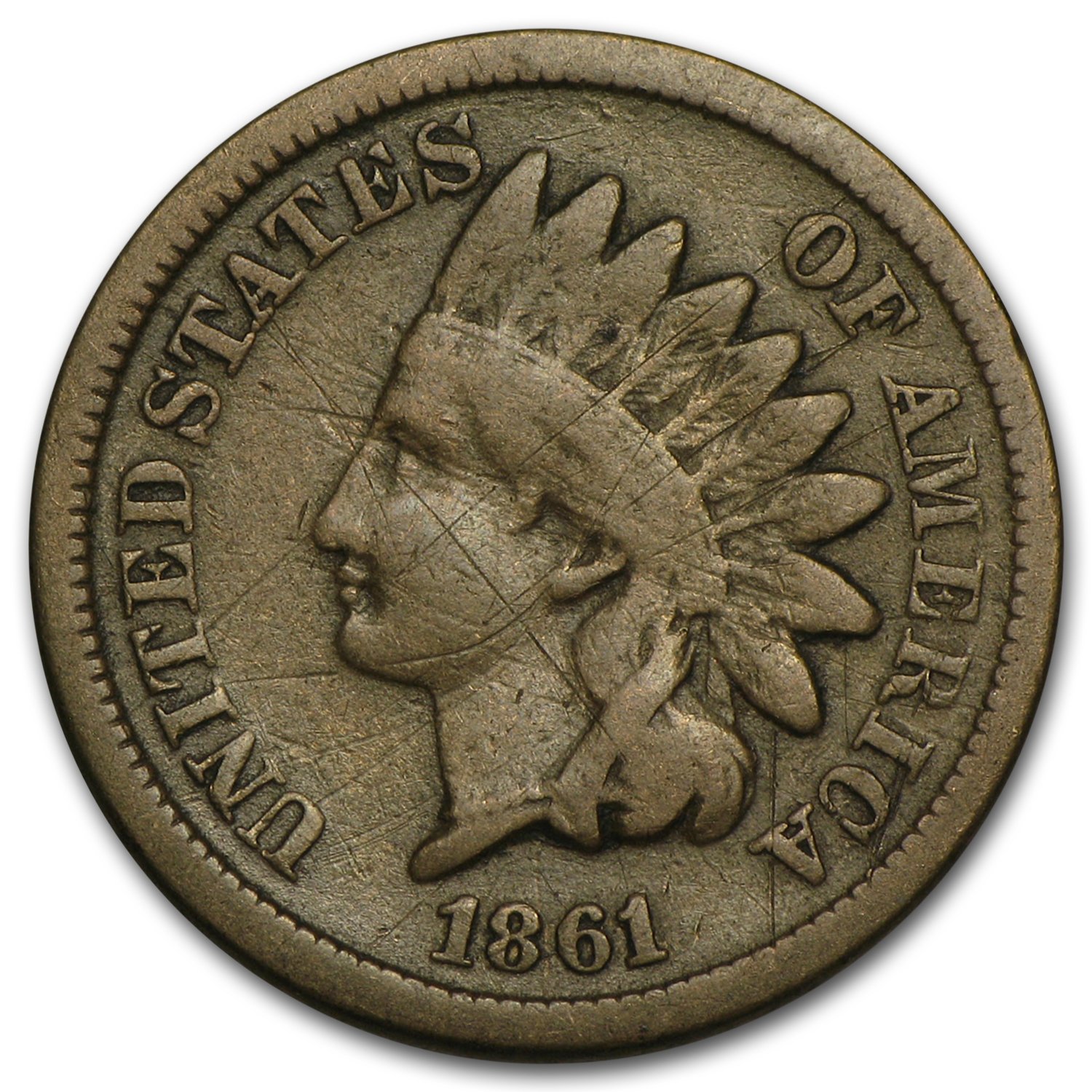 1861 Indian Head Cent VG Details (Scratches)