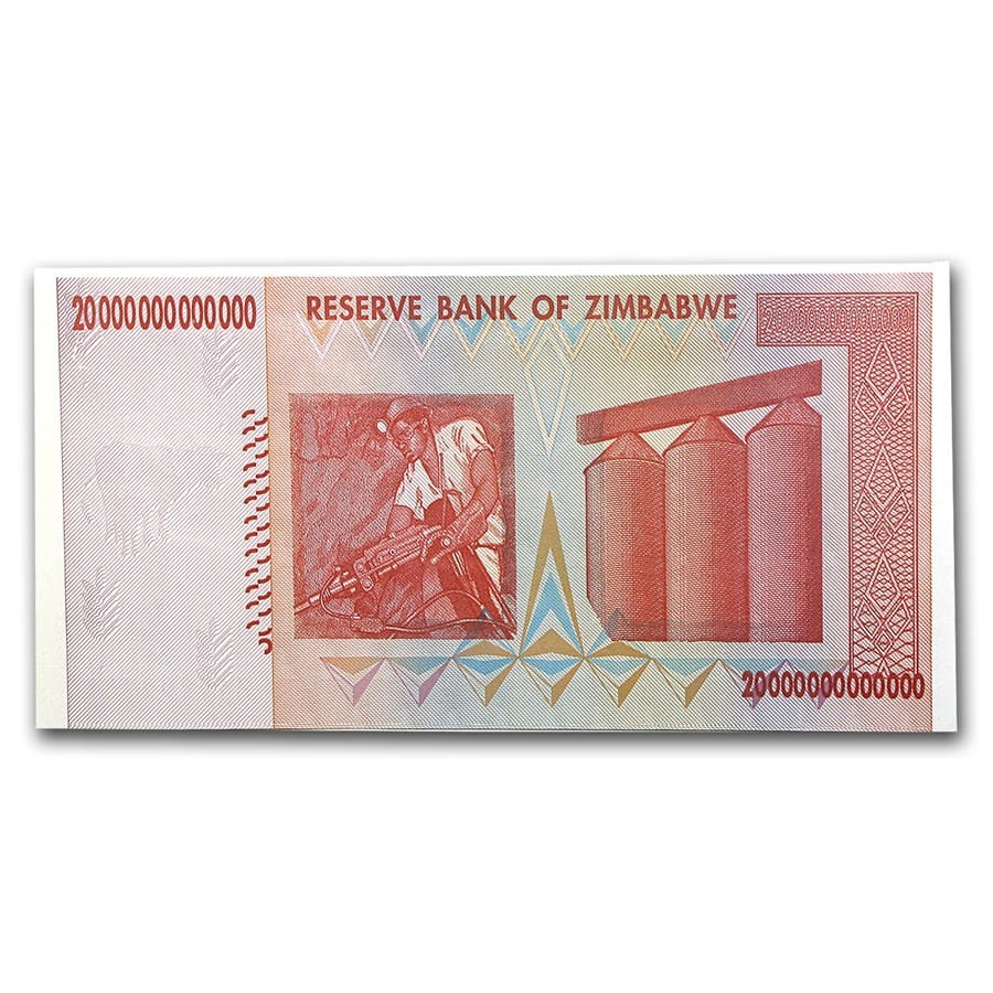 2008 Zimbabwe 20 Trillion Dollars Miner/Grain Elevators Unc