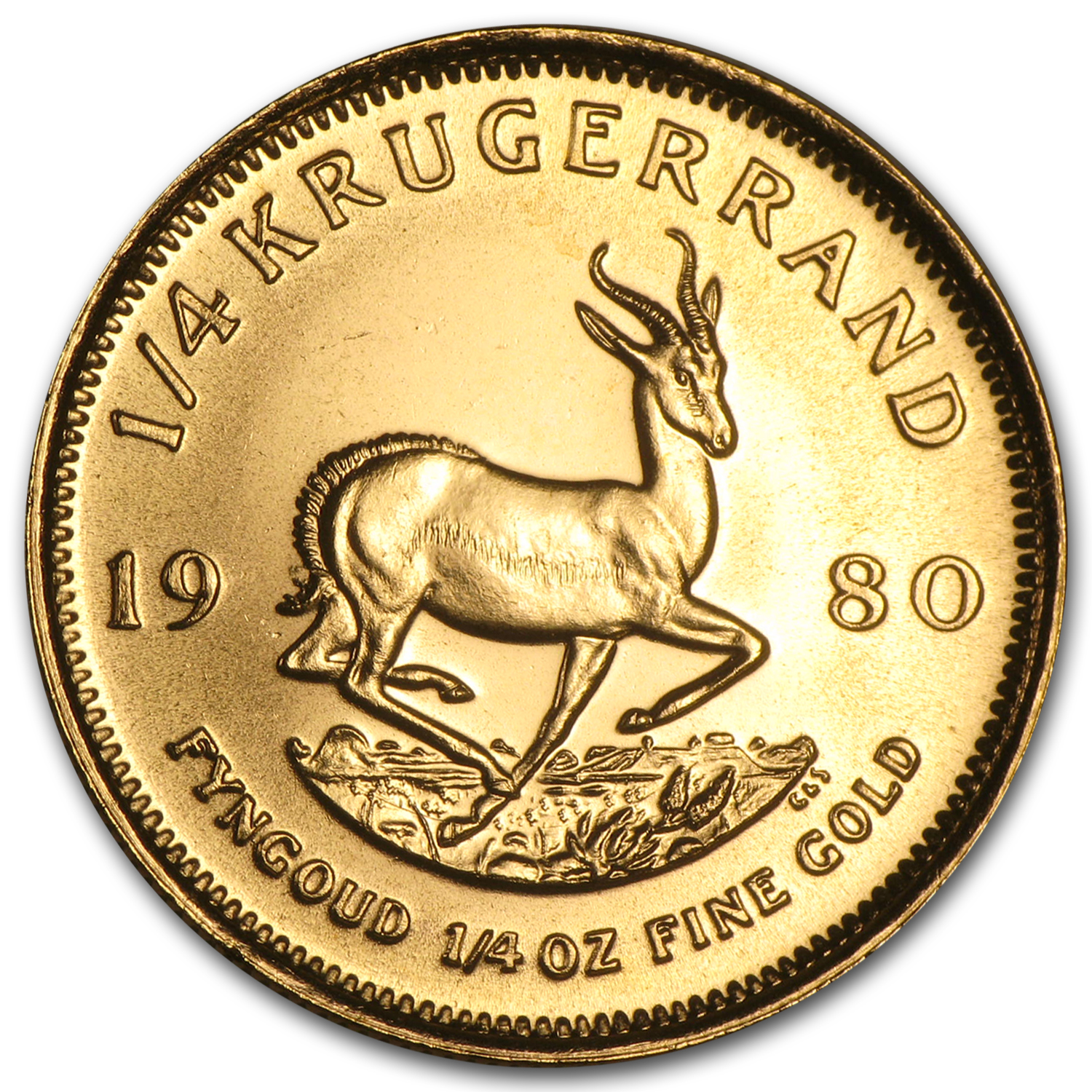 1980 South Africa 1/4 oz Gold Krugerrand BU