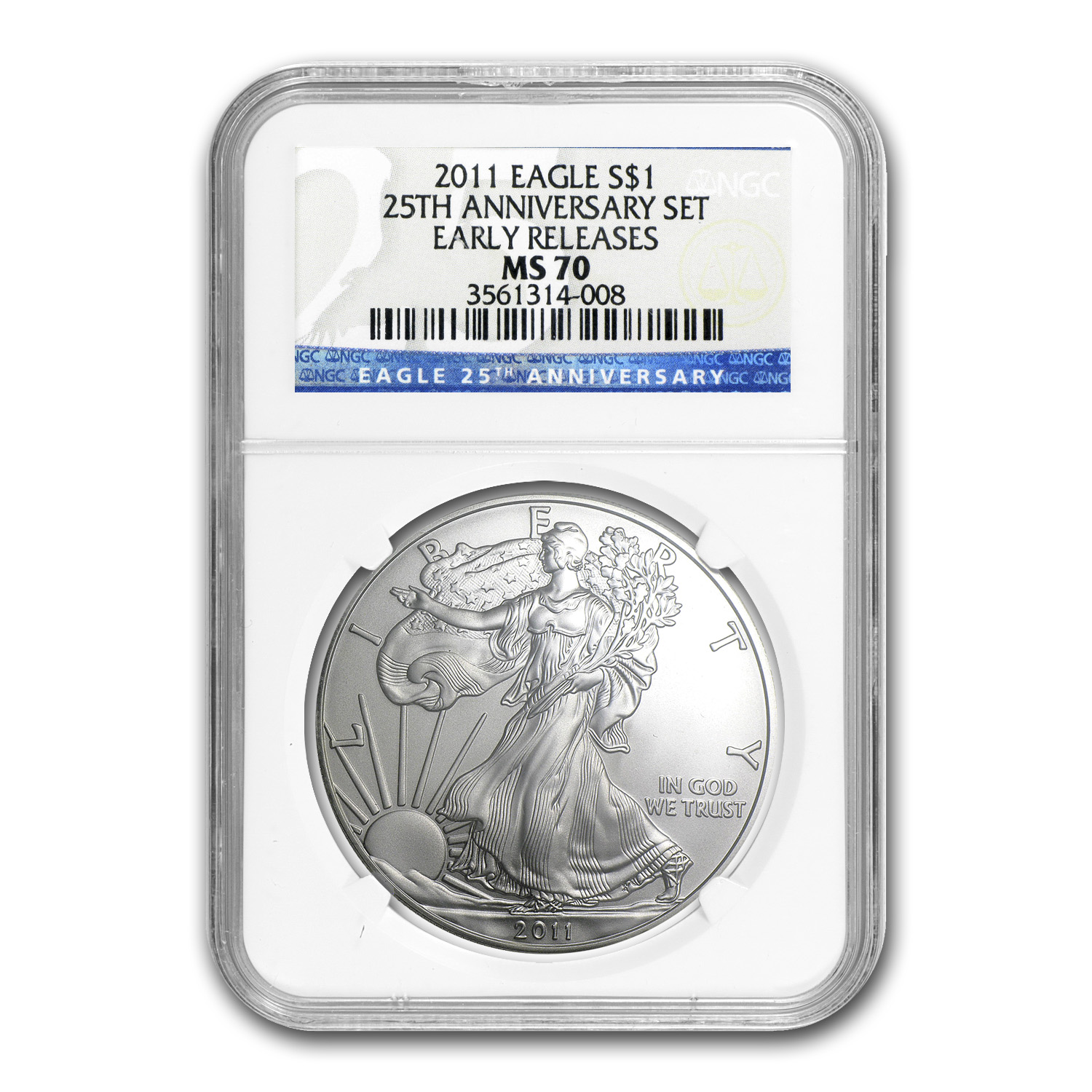 2011 5-Coin Silver Eagle Set MS/PF-70 NGC (25th Anniv)