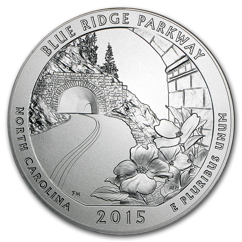 2015-P 5 oz Silver ATB Blue Ridge Parkway (w/Box & COA)
