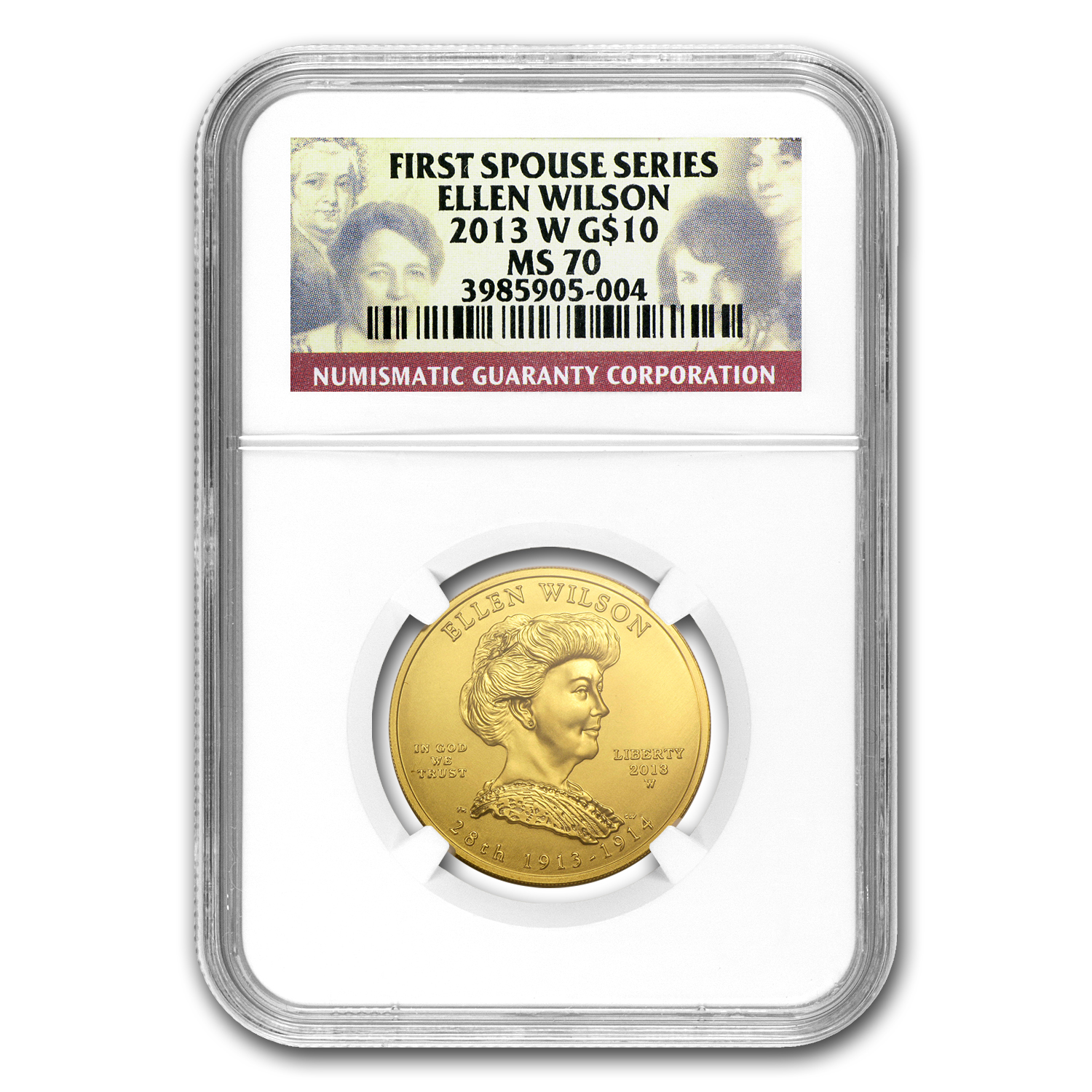 2013-W 1/2 oz Gold Ellen Wilson MS-70 NGC