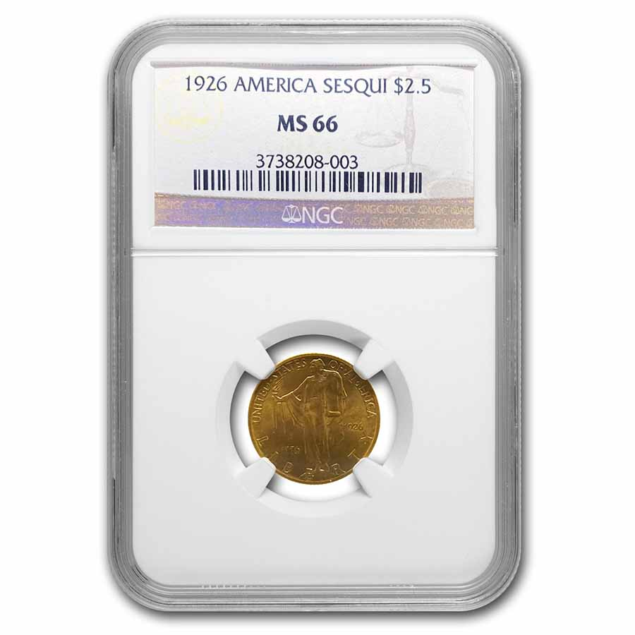 1926 Gold $2.50 America Sesquicentennial MS-66 NGC