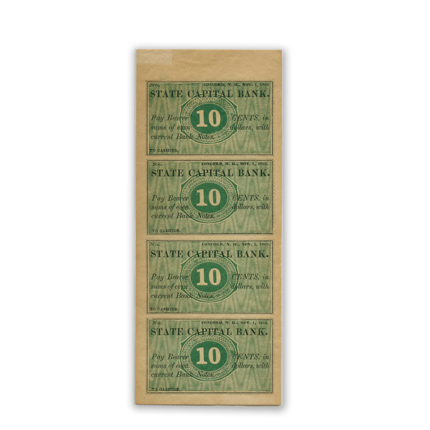 1862 Ten Cent Sheet State Capital Bank, Concord, NH AU