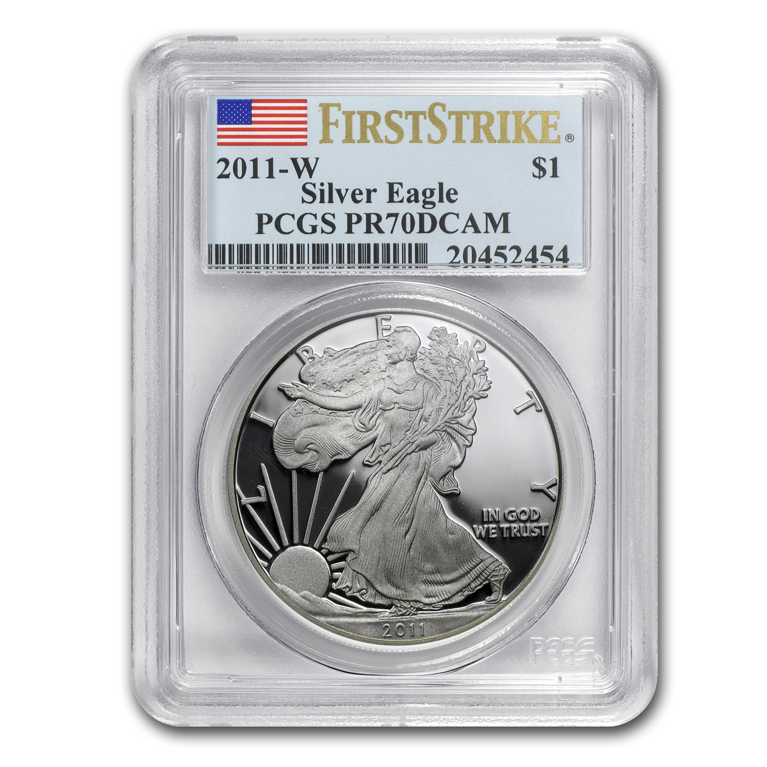 1 oz Proof Silver American Eagle PR-70 PCGS (Random Year w/Spots)