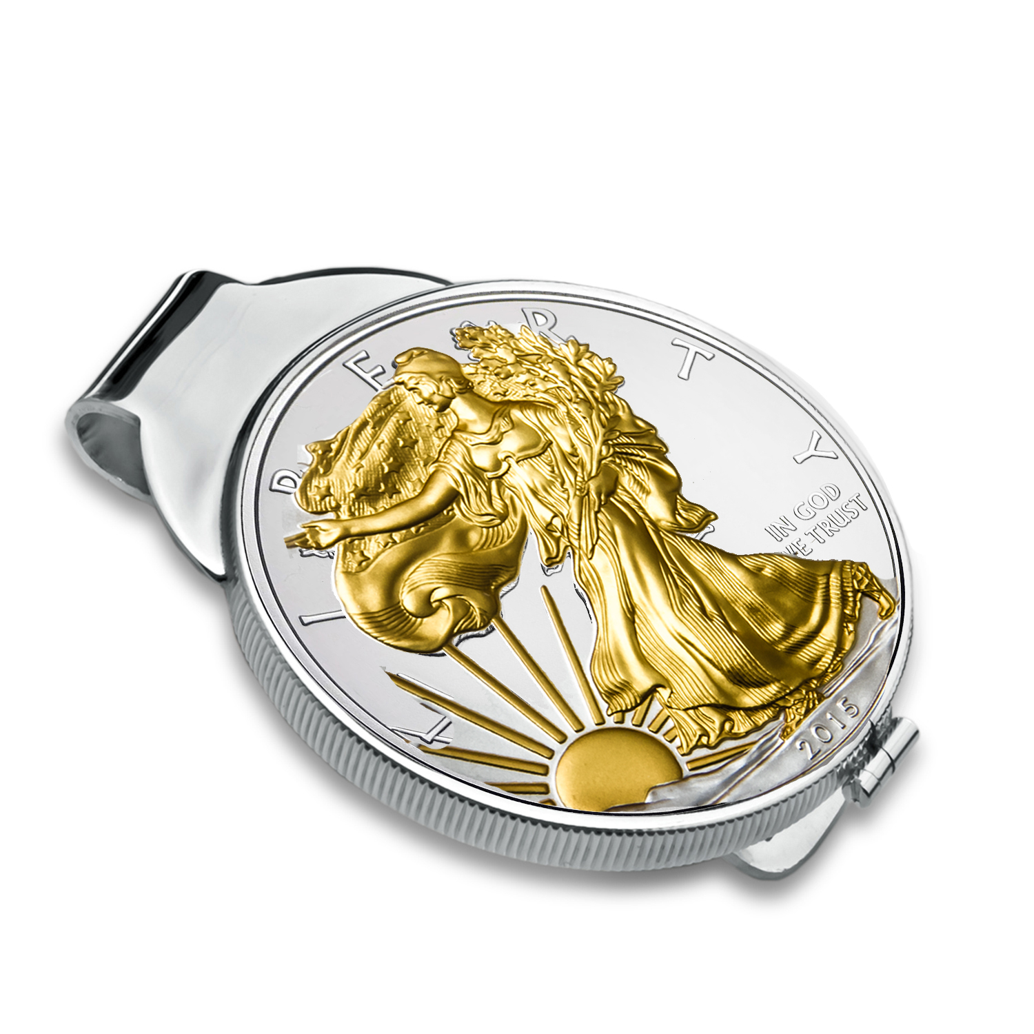 2015 1 oz Silver Gilt Eagle Money Clip (Sterling Silver Polished)