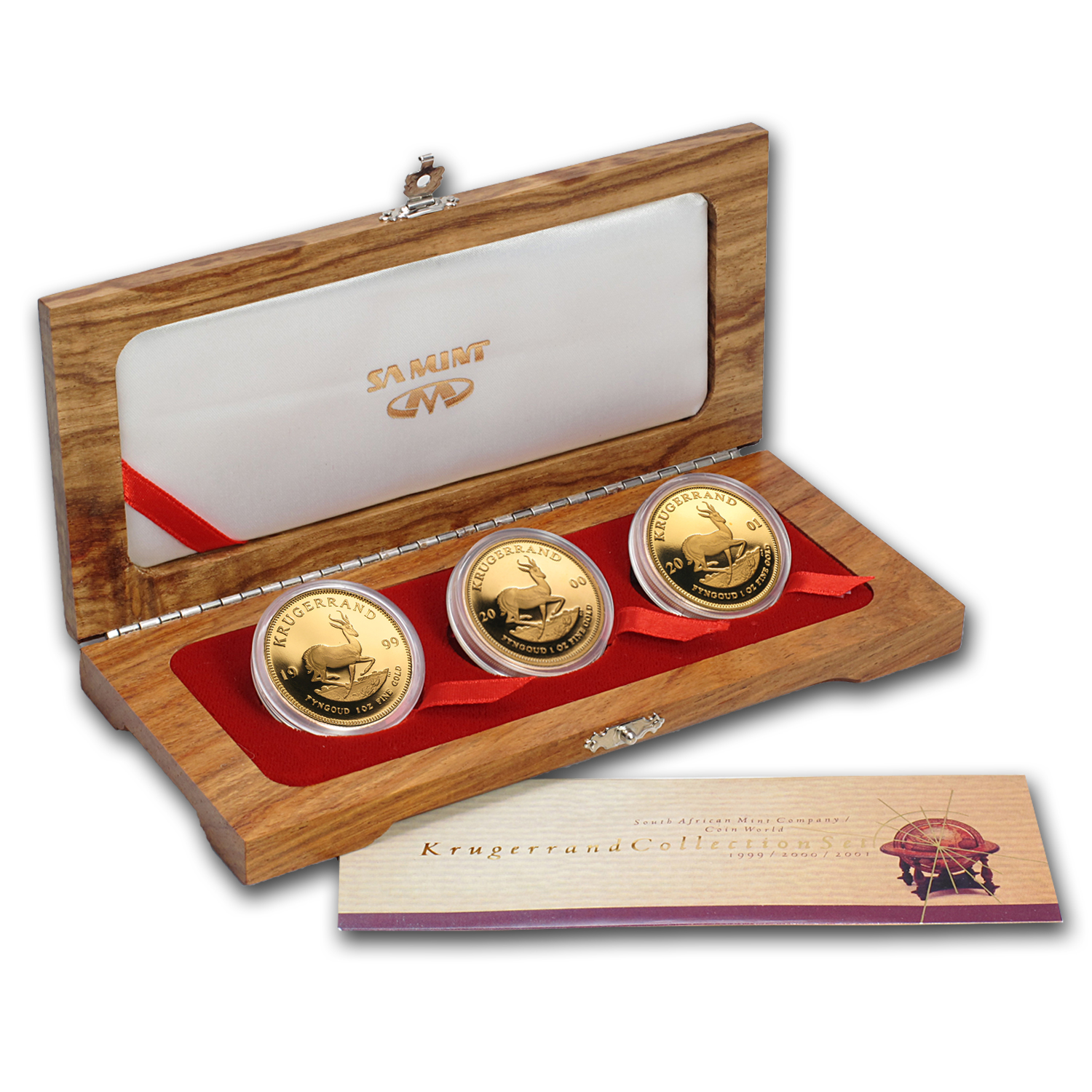 1999-2001 South Africa 3-Coin Gold Krugerrand Proof Set