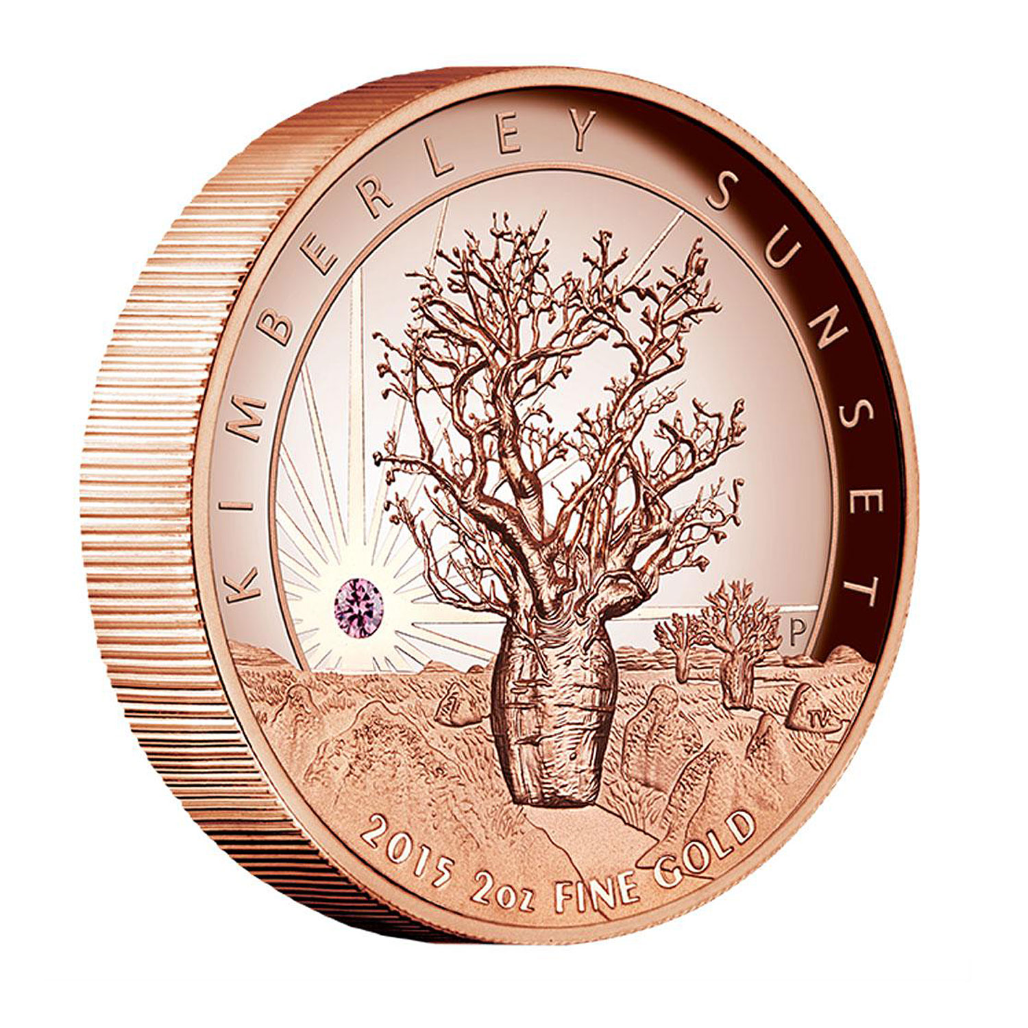 2015 Australia 2 oz Pink Gold Proof Kimberley Sunset w/Diamond