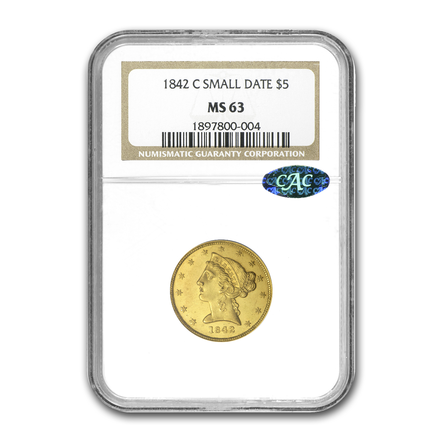 1842-C $5 Liberty Half Eagle Small Date MS-63 NGC (CAC)