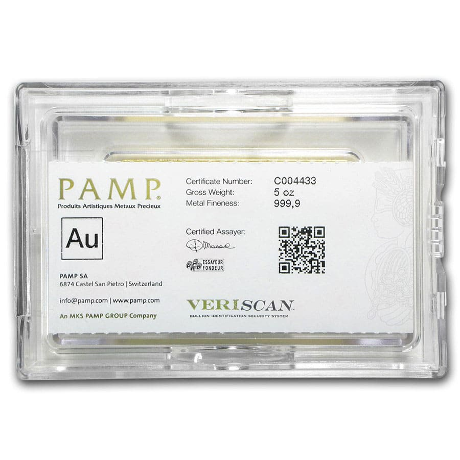 5 oz Gold Bar - PAMP Suisse Lady Fortuna Veriscan® (w/Assay)