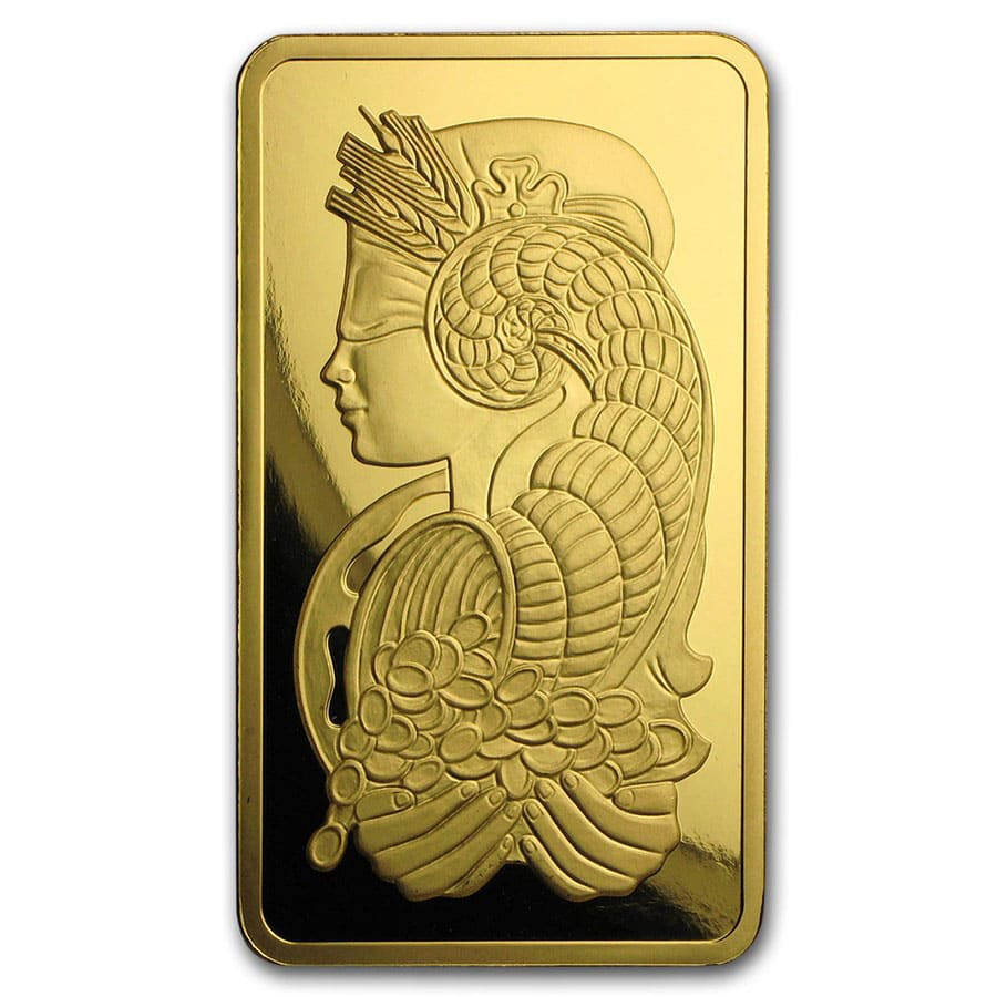 5 oz Gold Bar - PAMP Suisse Lady Fortuna Veriscan (w/Assay)