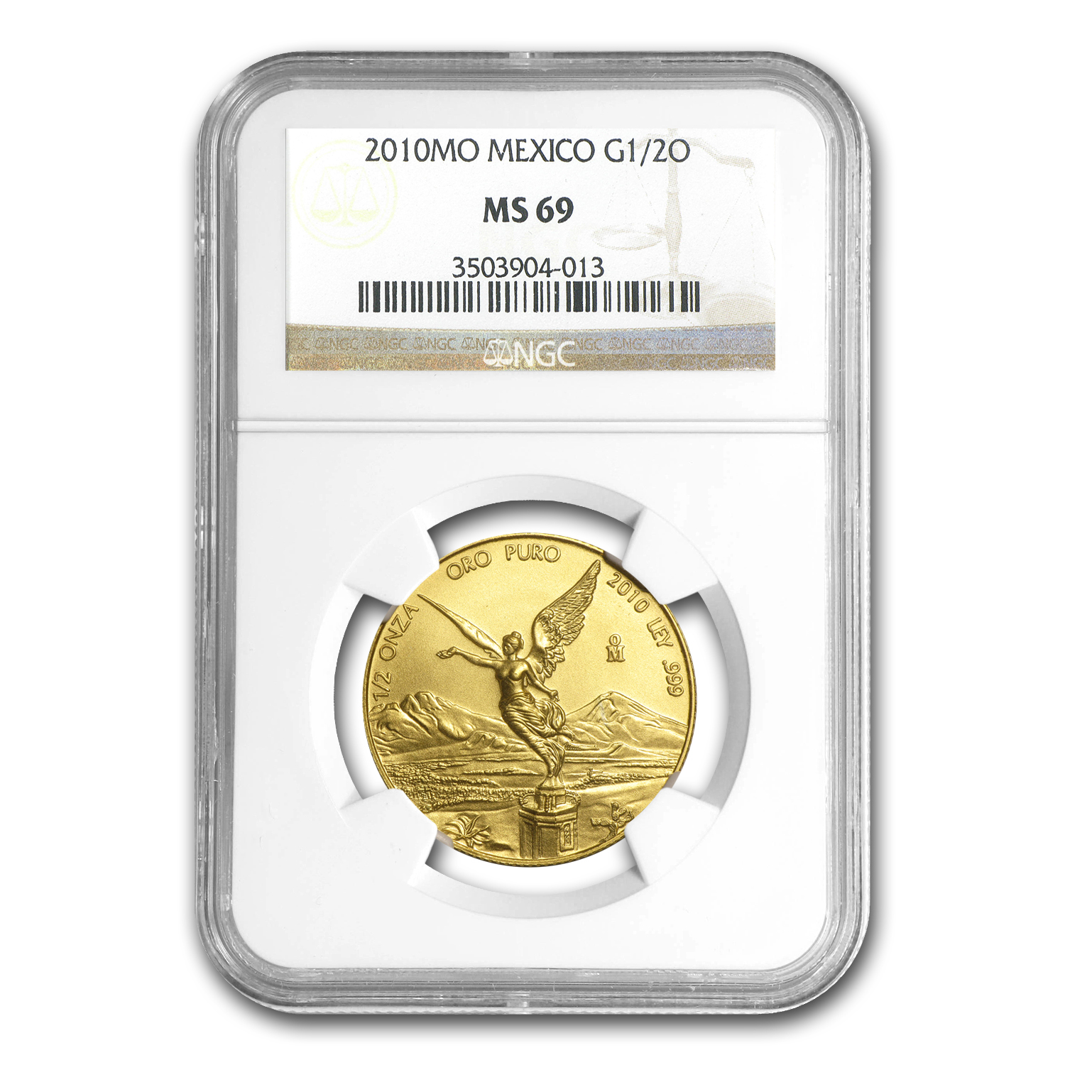 2010 Mexico 1/2 oz Gold Libertad MS-69 NGC