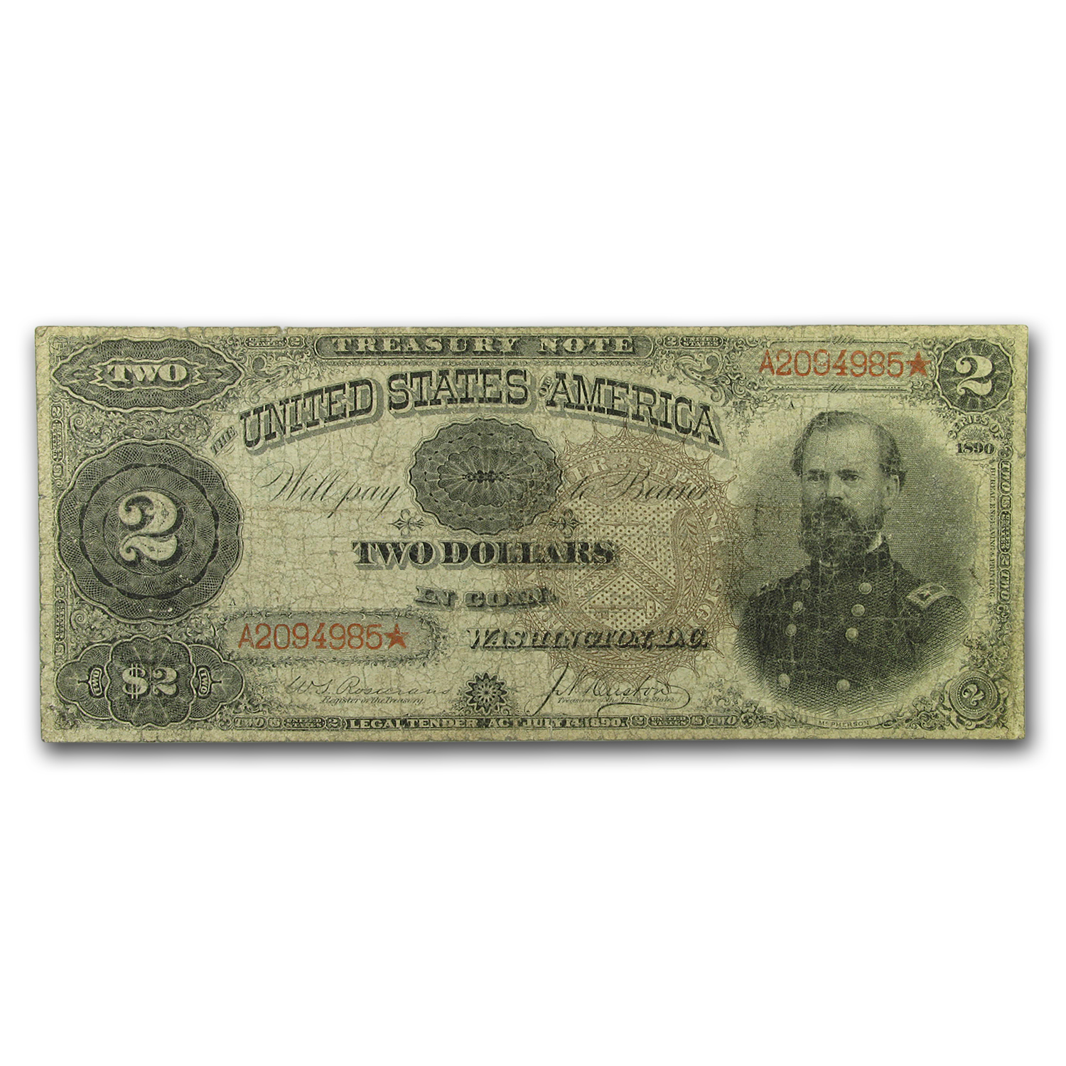 1890 $2.00 Treasury Note VG