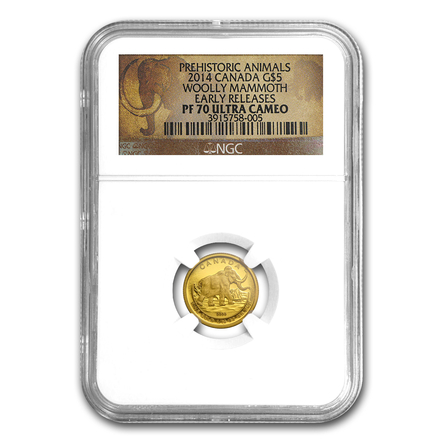 2014 Canada 1/10 oz Proof Gold $5 Woolly Mammoth PF-70 NGC