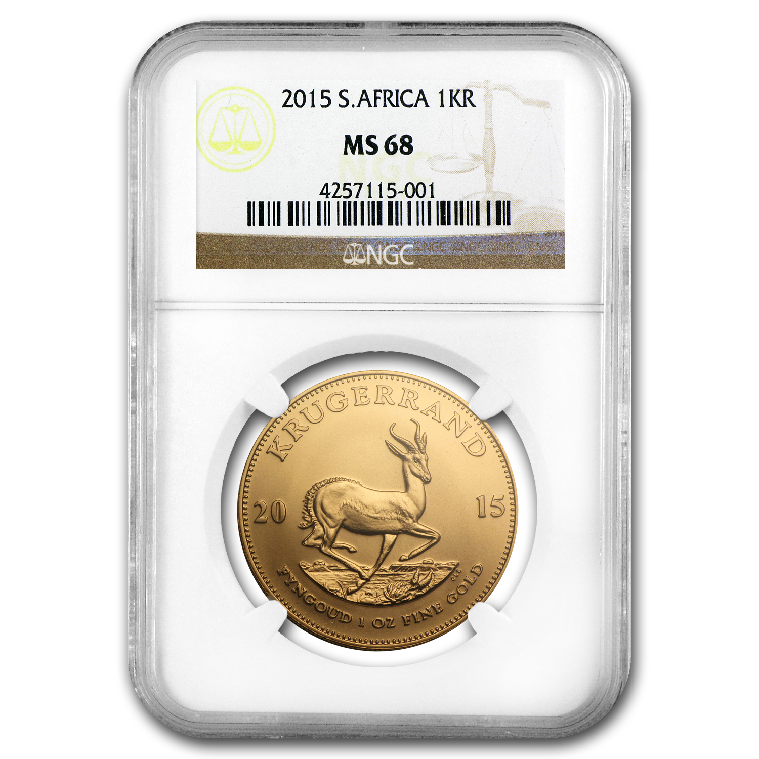 2015 South Africa 1 oz Gold Krugerrand MS-68 NGC