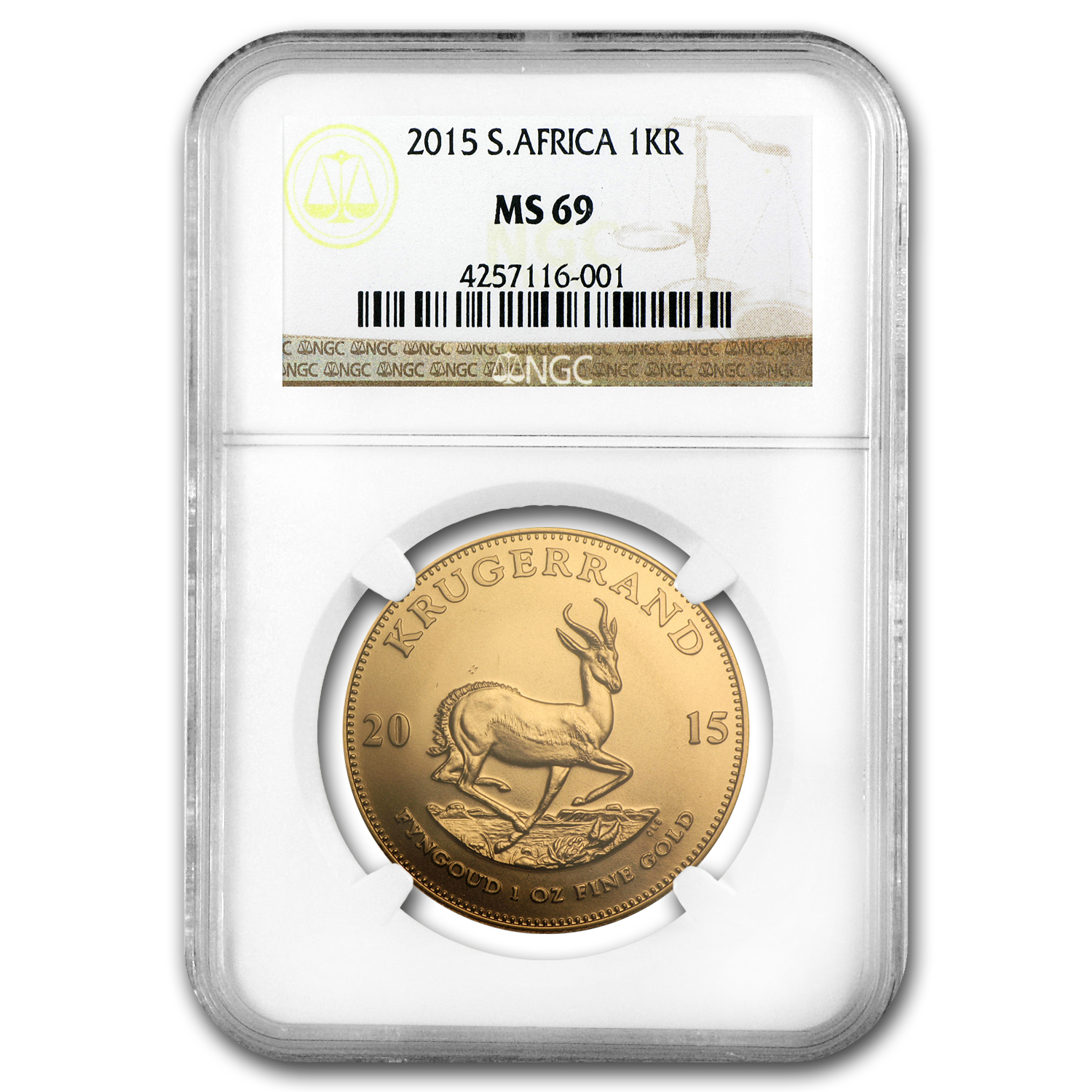 2015 South Africa 1 oz Gold Krugerrand MS-69 NGC