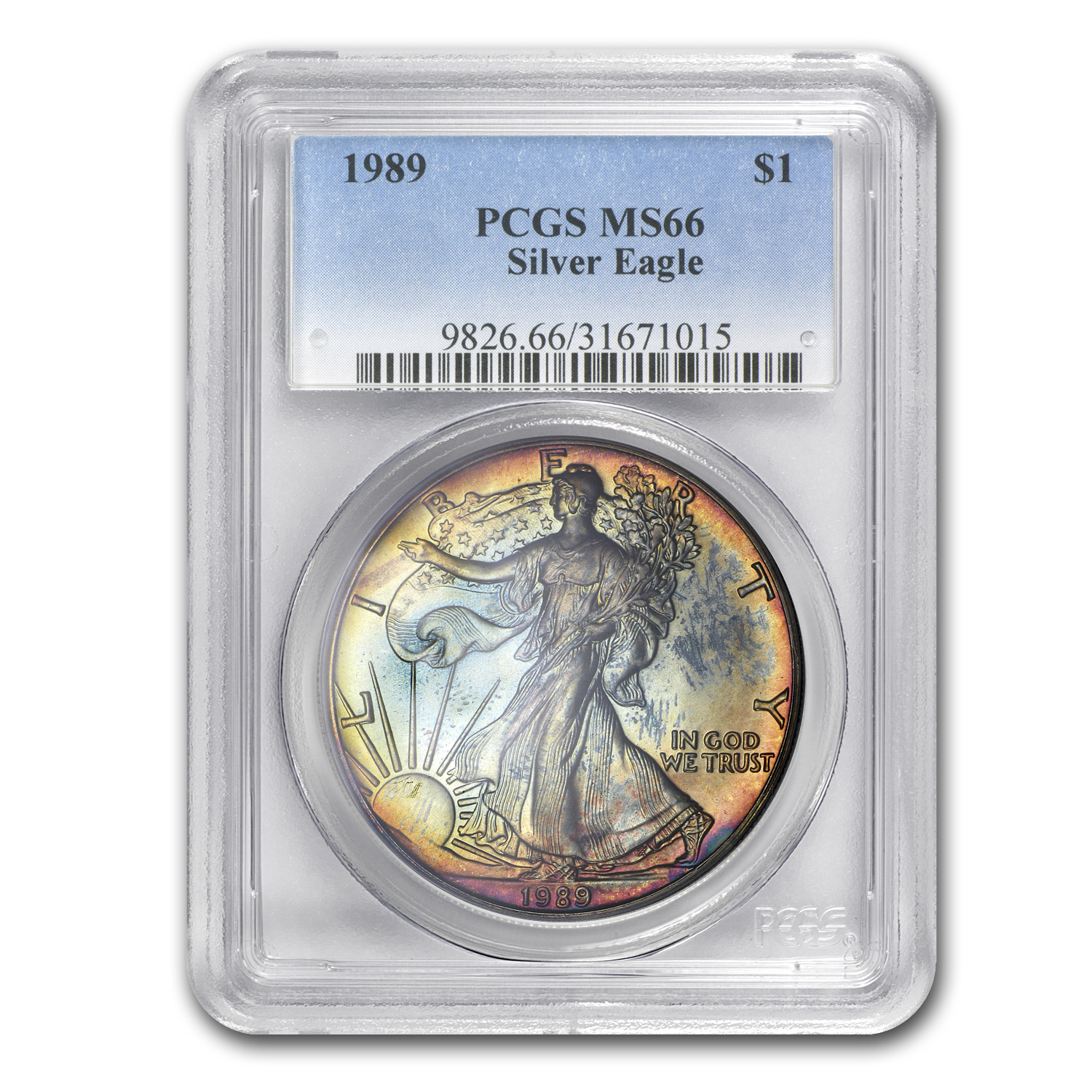 1989 Silver American Eagle MS-66 PCGS (Obv and Rev Toning)