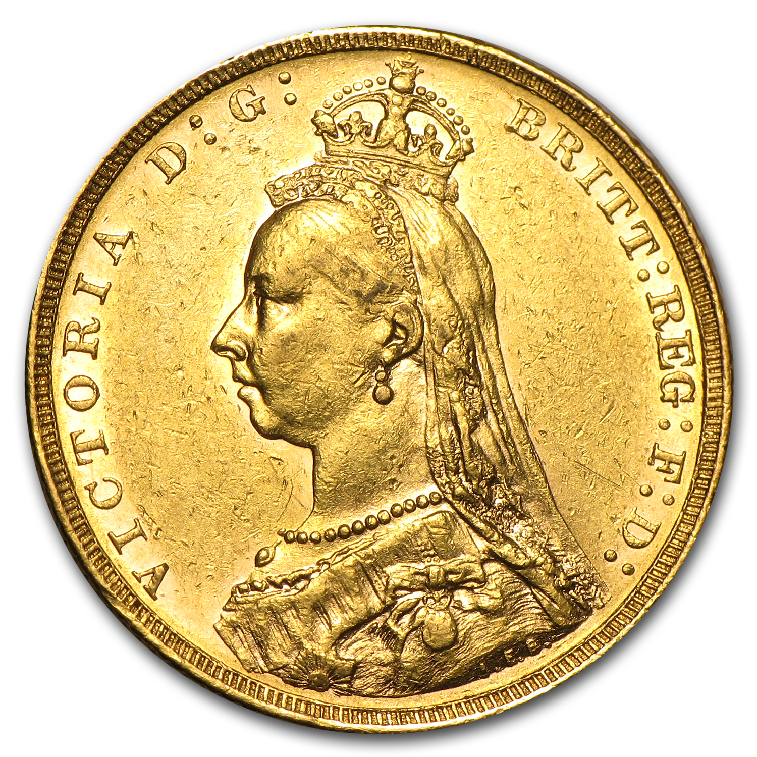 1889-M Australia Gold Sovereign AU