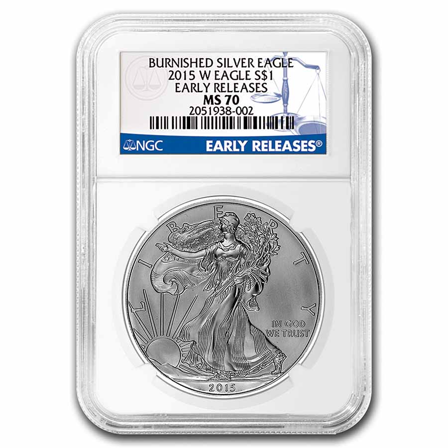2015-W Burnished Silver Eagle MS-70 NGC (Early Releases)