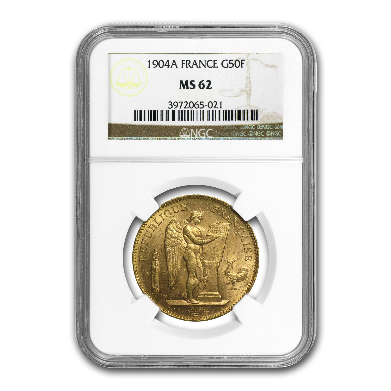 1904-A France Gold 50 Francs Angel MS-62 NGC