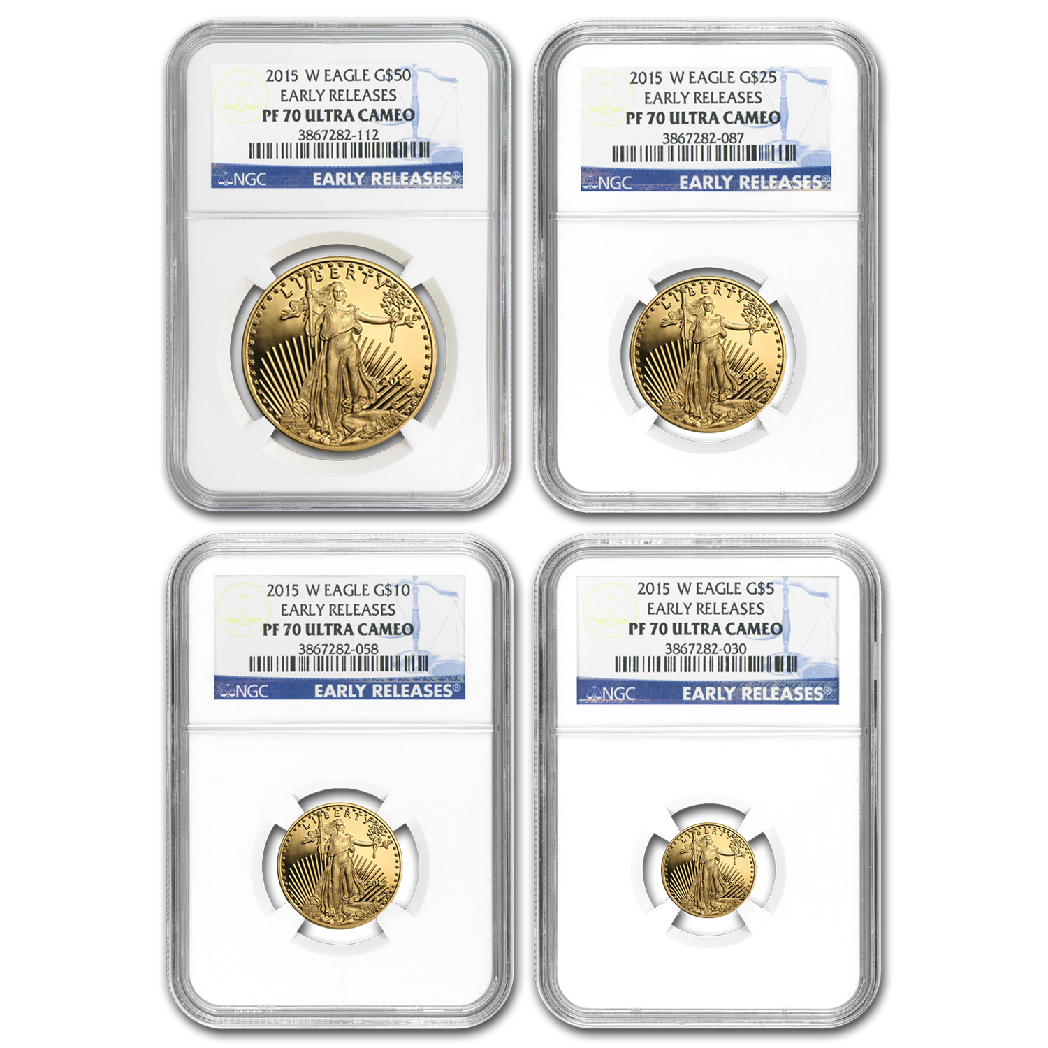 2015-W 4-Coin Proof Gold American Eagle Set PF-70 NGC (ER)