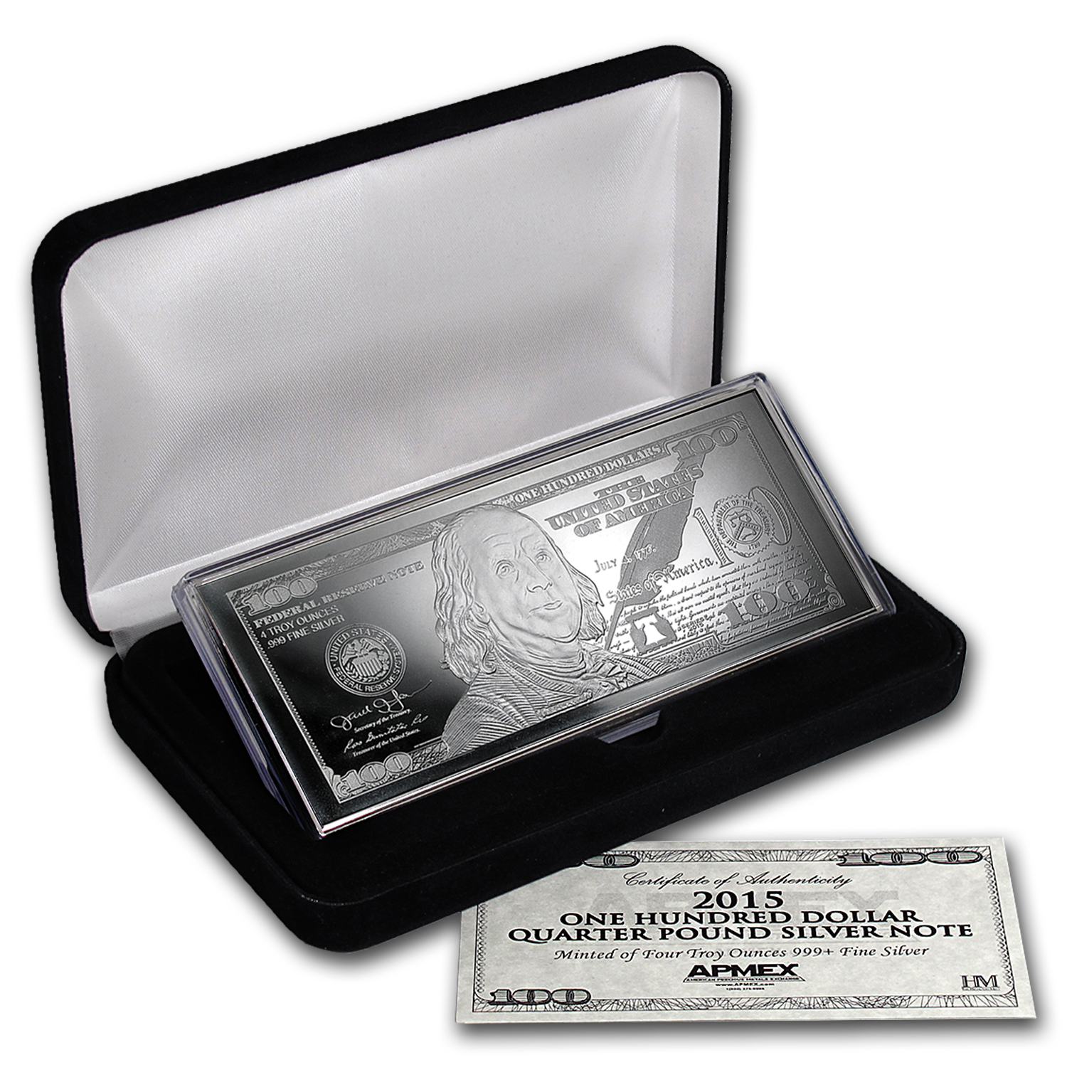 4 oz Silver Bar - 2015 $100 Bill (W/Box & COA)