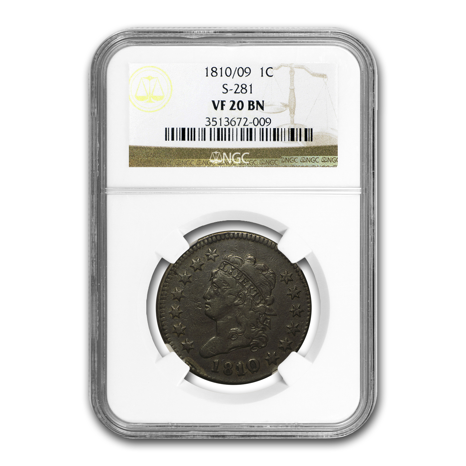 1810/09 Large Cent Fine VF-20 BN NGC (S-281)