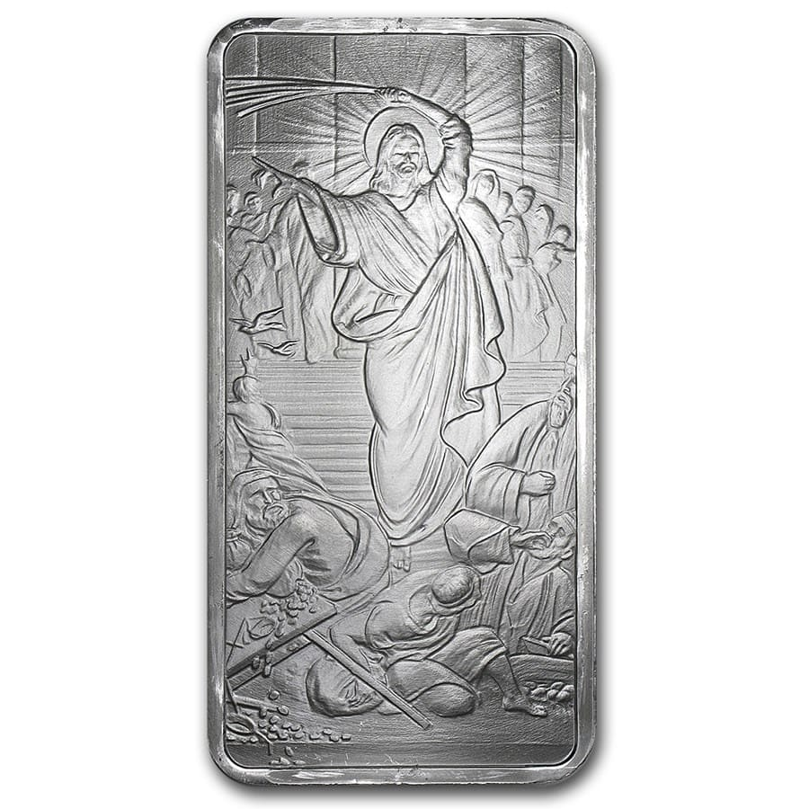 10 oz Silver Shield Bar - Jesus Clears the Temple
