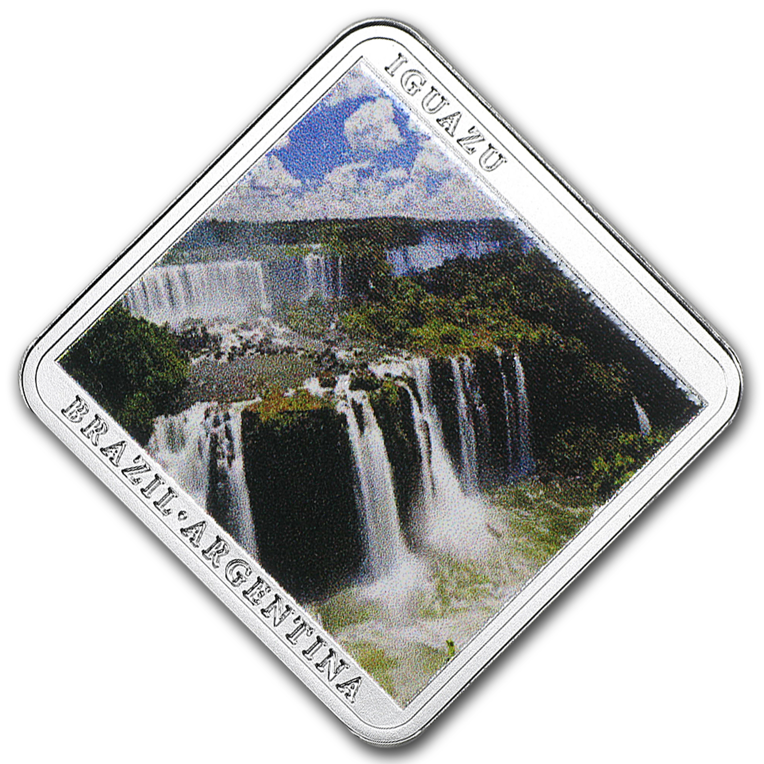 2015 Niue Silver Iguazú Falls Waterfall Square Coin Proof